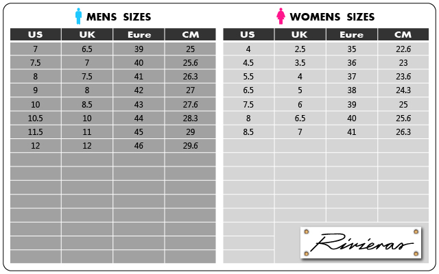 Rivieras Leisure Shoes Size Chart