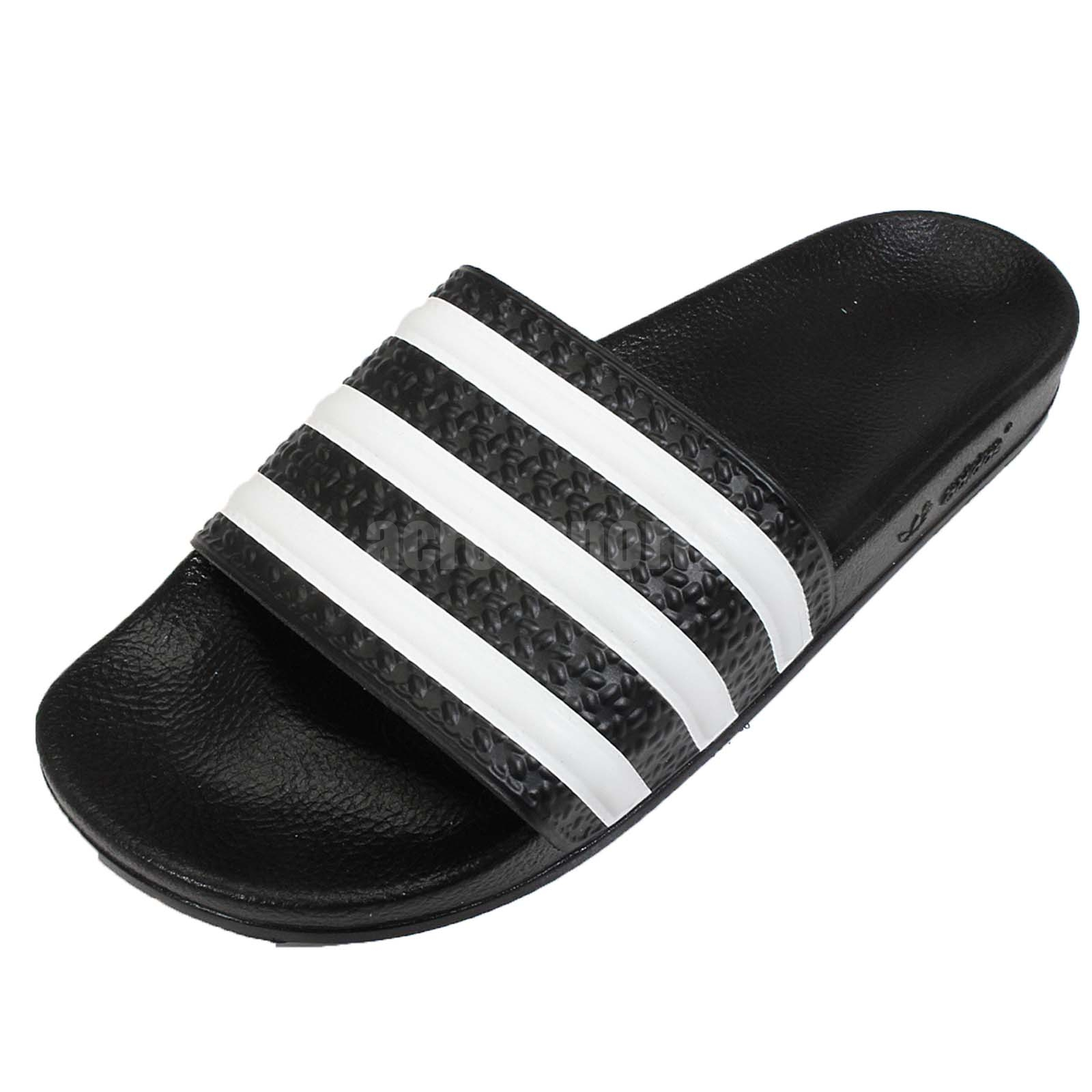 Details about adidas Adilette W 3-Stripes Black White Women Sandals Slides  Slippers 072329 d766c2fab6