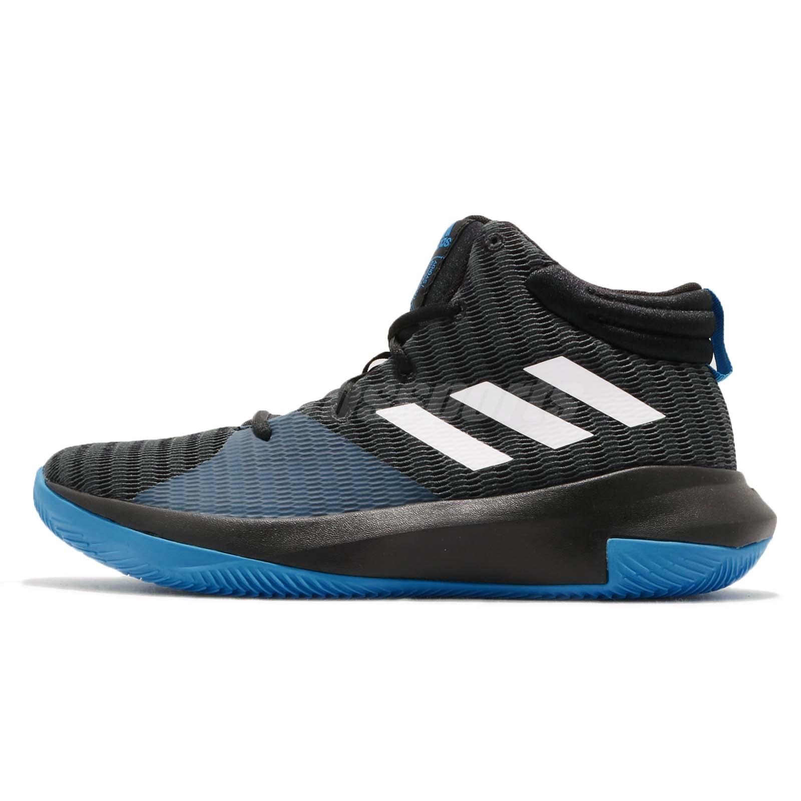 adidas Pro Elevate 2018 K Black Blue White Kid Junior Basketball Shoes  AC7624 e19eaa46fbb7d