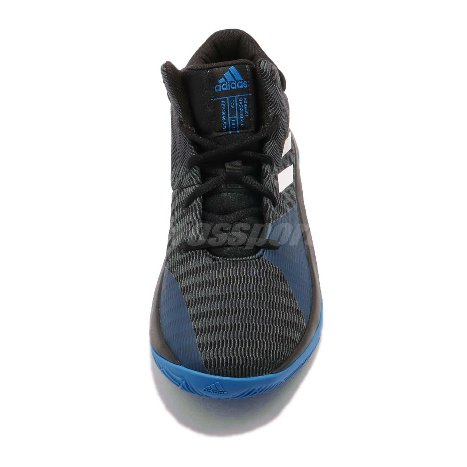 adidas Pro Elevate 2018 K Black Blue White Kid Junior Basketball ... b9bd6dd996a7a