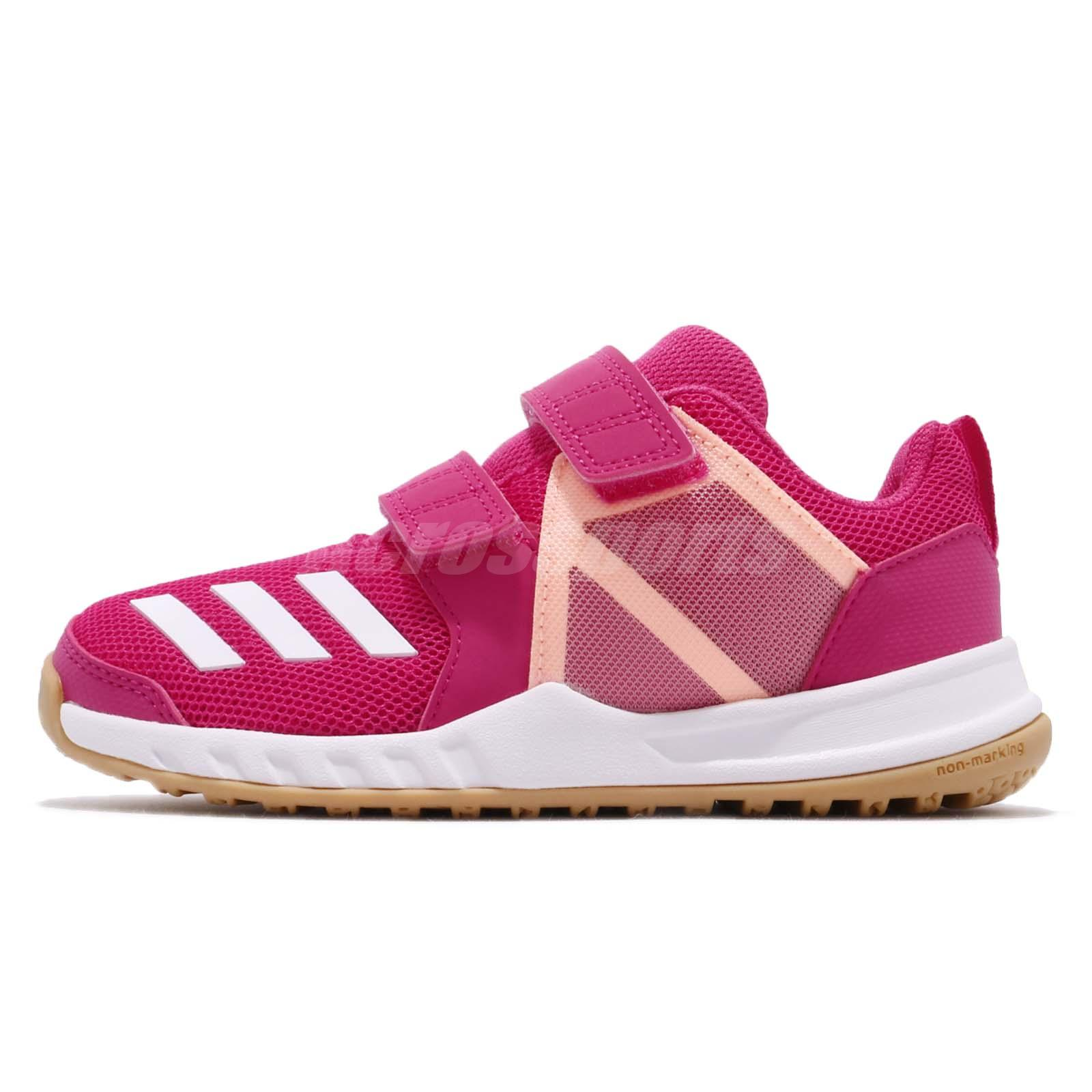 big sale 857eb 83650 adidas FortaGym CF K Real Magenta Pink Gum Kid Junior Preschool Shoes AH2561