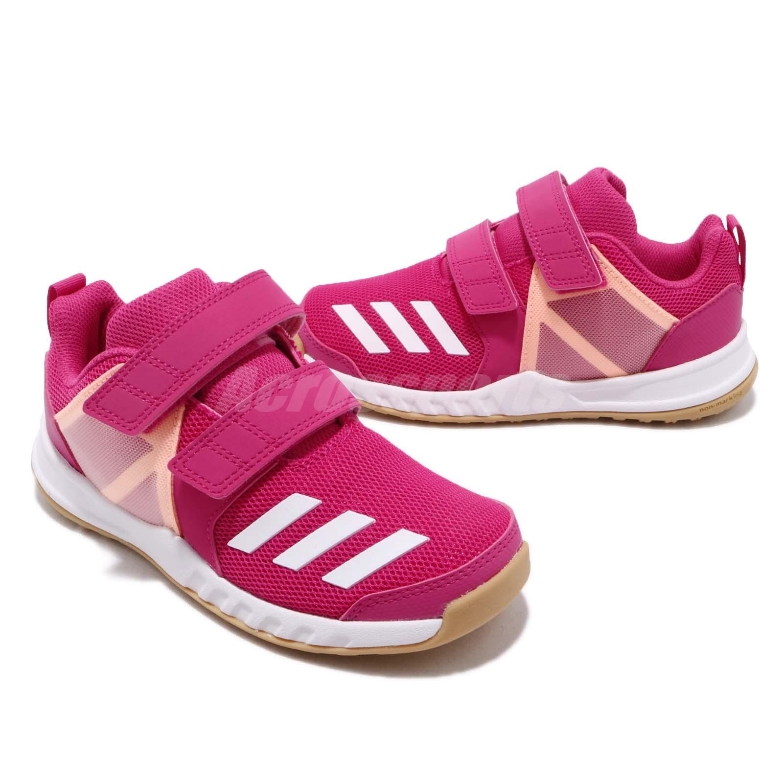 reputable site 89465 b0484 adidas FortaGym CF K Real Magenta Pink Gum Kid Junior Preschool ...