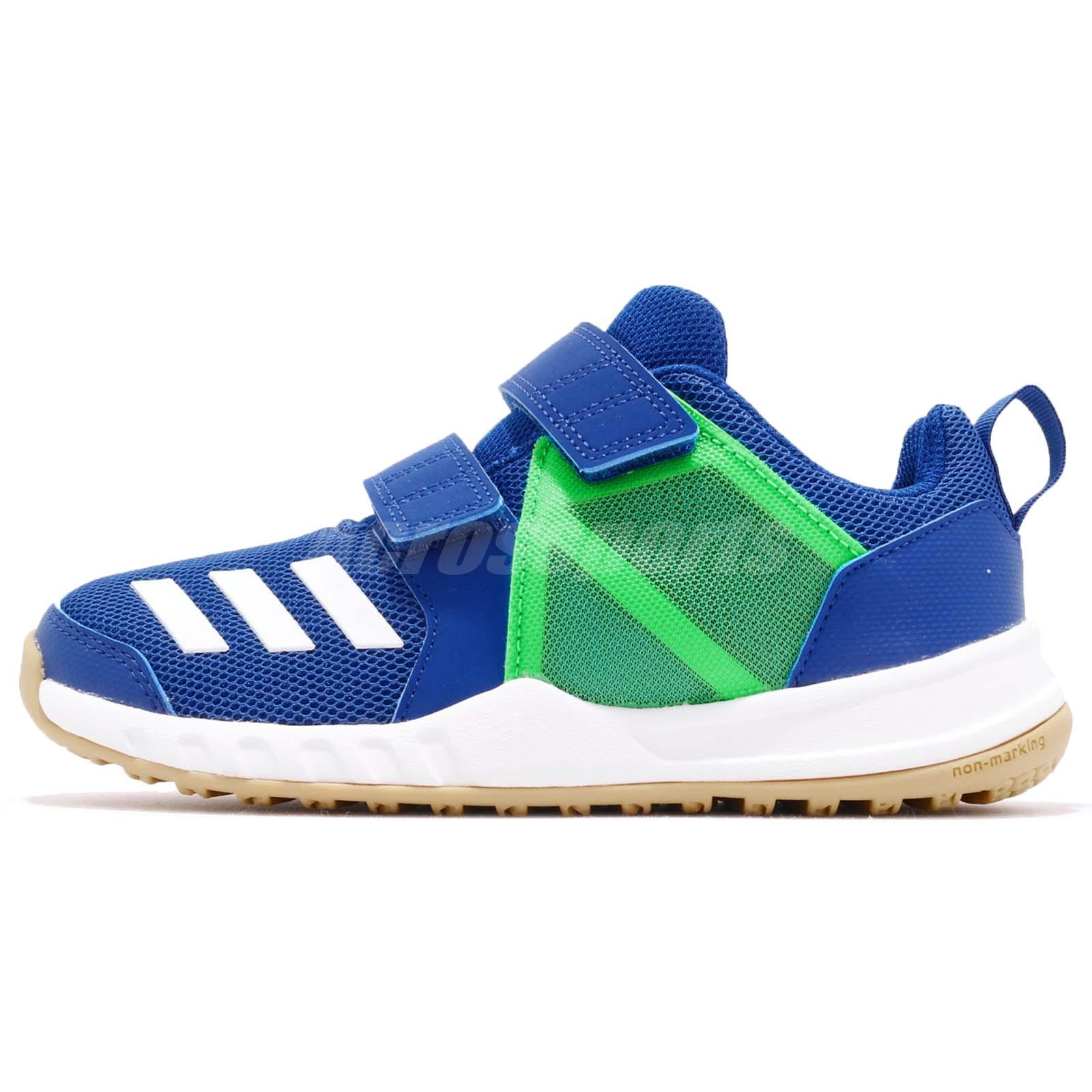 uk availability 6534c 30395 Details about adidas FortaGym CF K Blue Green White Gum Kid Preschool Slip  On Shoes AH2562