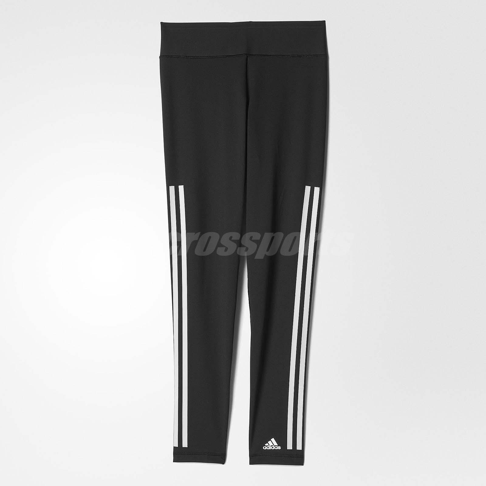 adidas Women Ultimate Fit 3-Stripes Long Tight Running Sports Black White  AJ5052