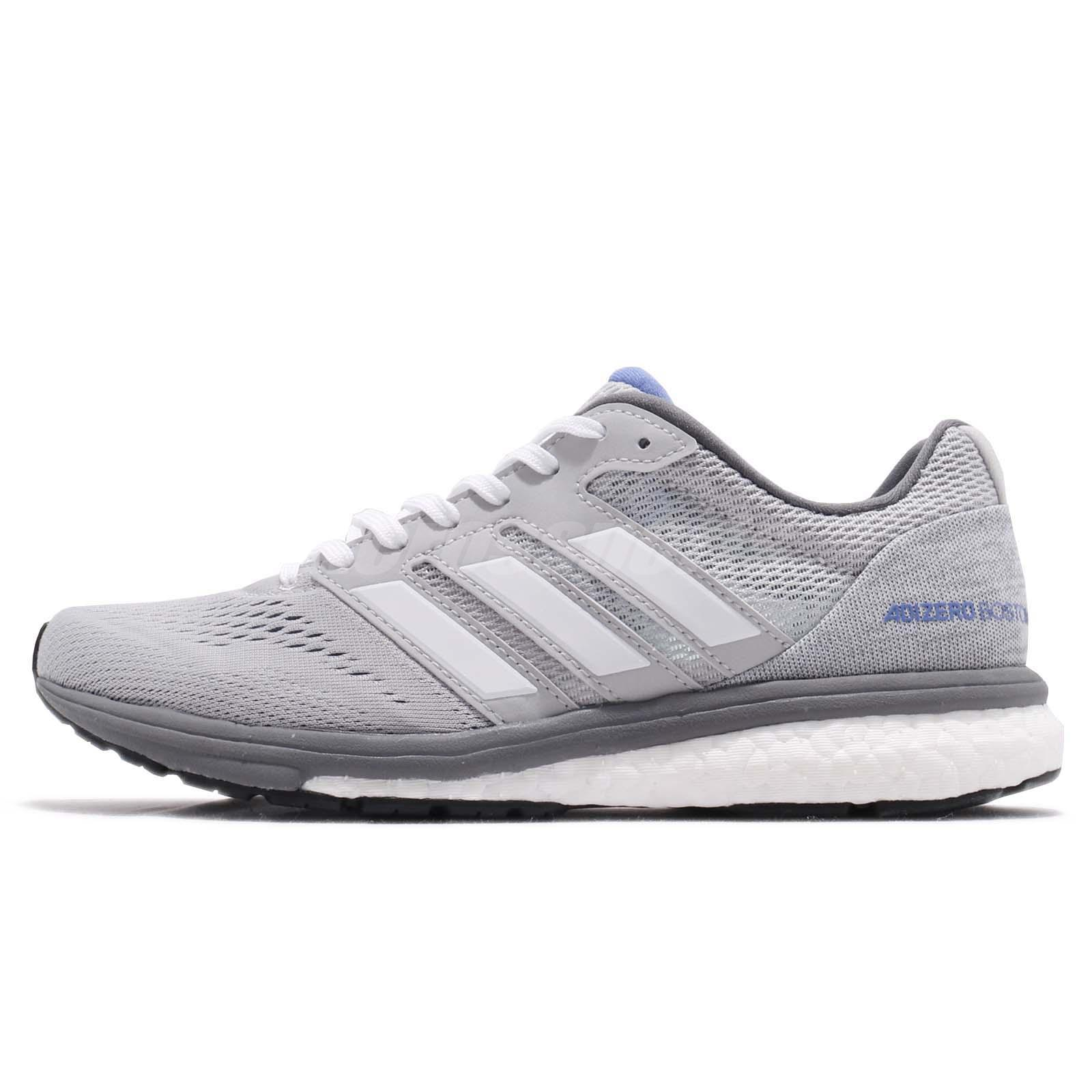 sale retailer 2a3ee 2224e adidas Adizero Boston 7 W BOOST Grey White Womens Running Shoes AQ0199