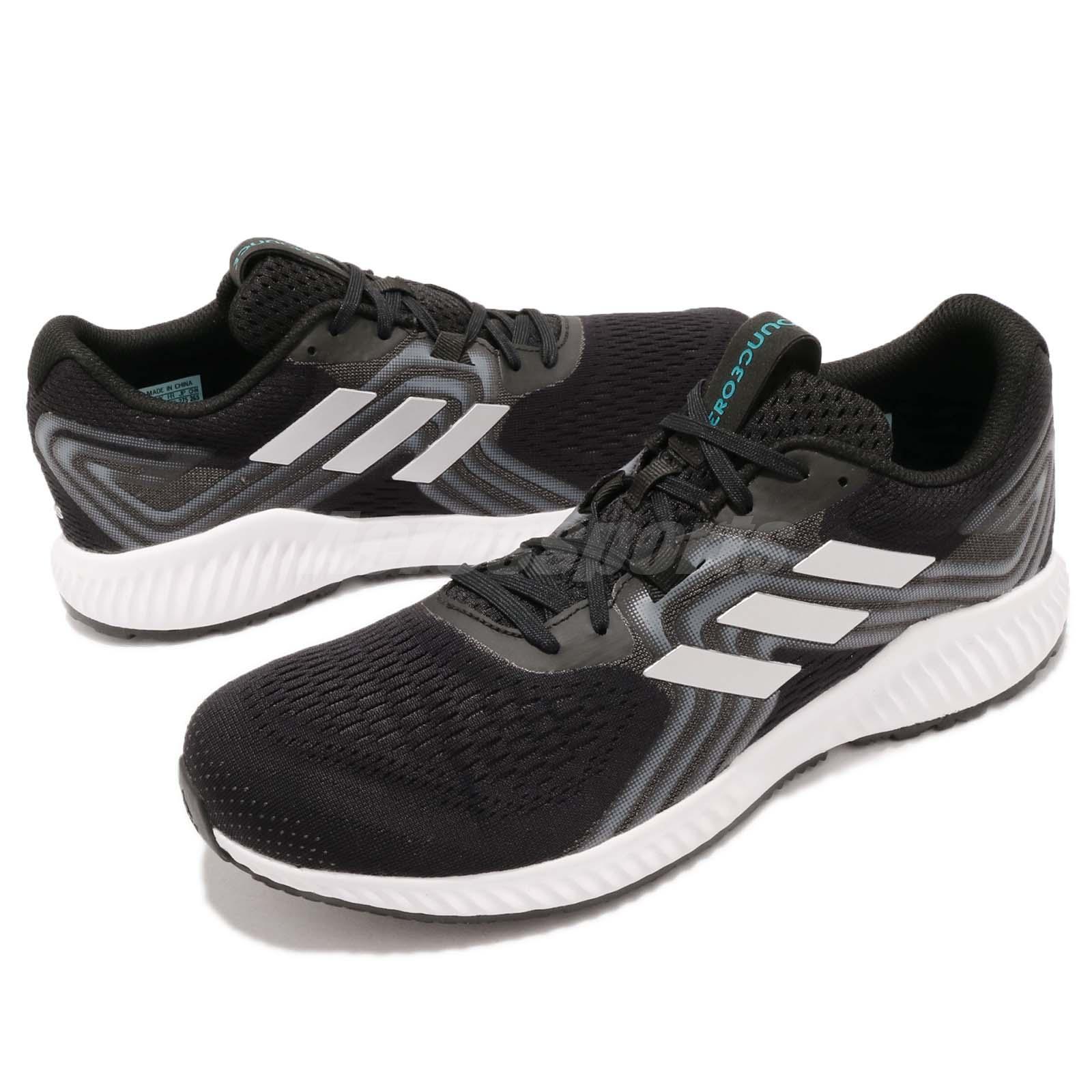 outlet store 87428 6e18c adidas Aerobounce 2 M Black Silver Aqua White Men Running Shoes ...