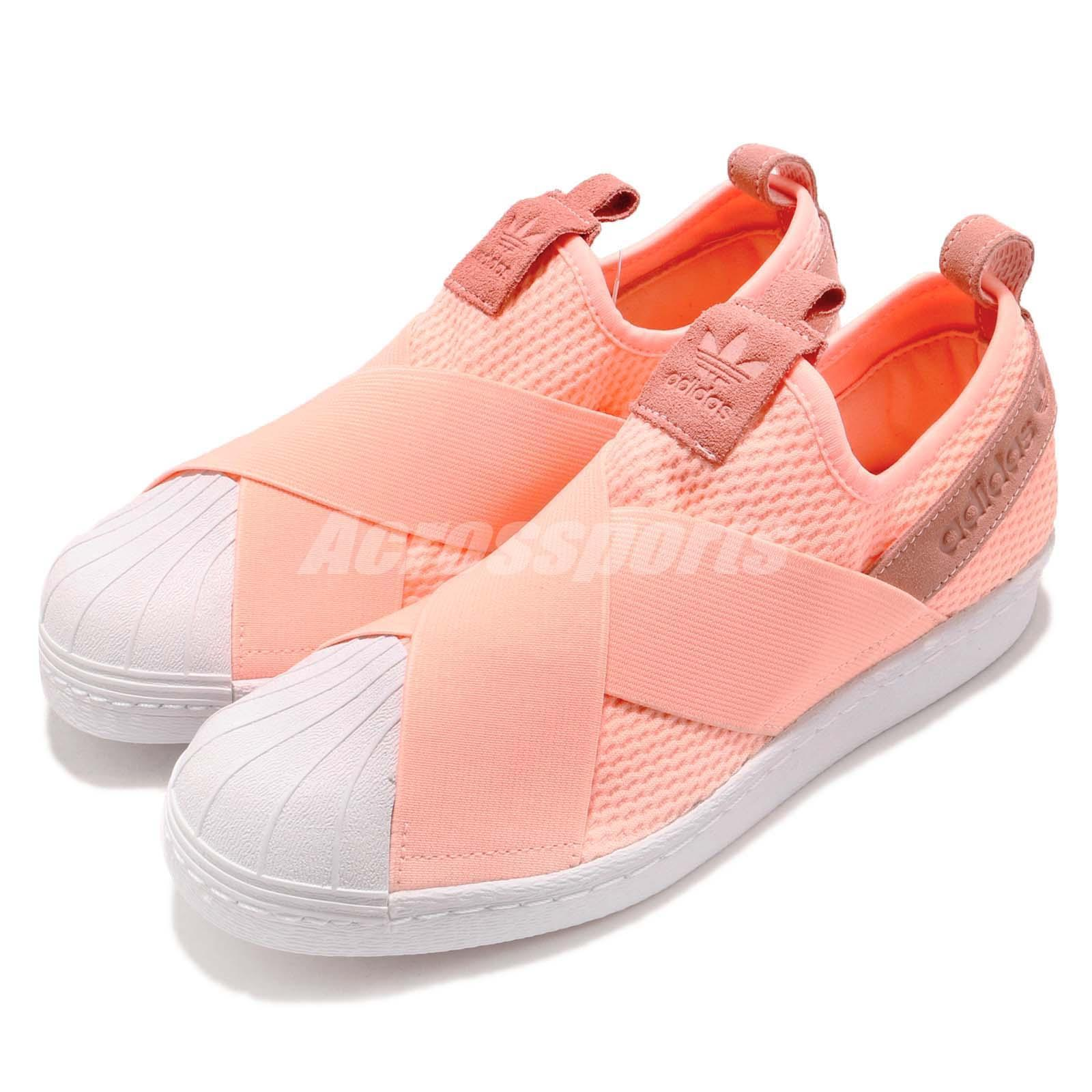 Details about adidas Superstar Slip On W Strap Clear Orange White Women Shoes Sneakers AQ0919