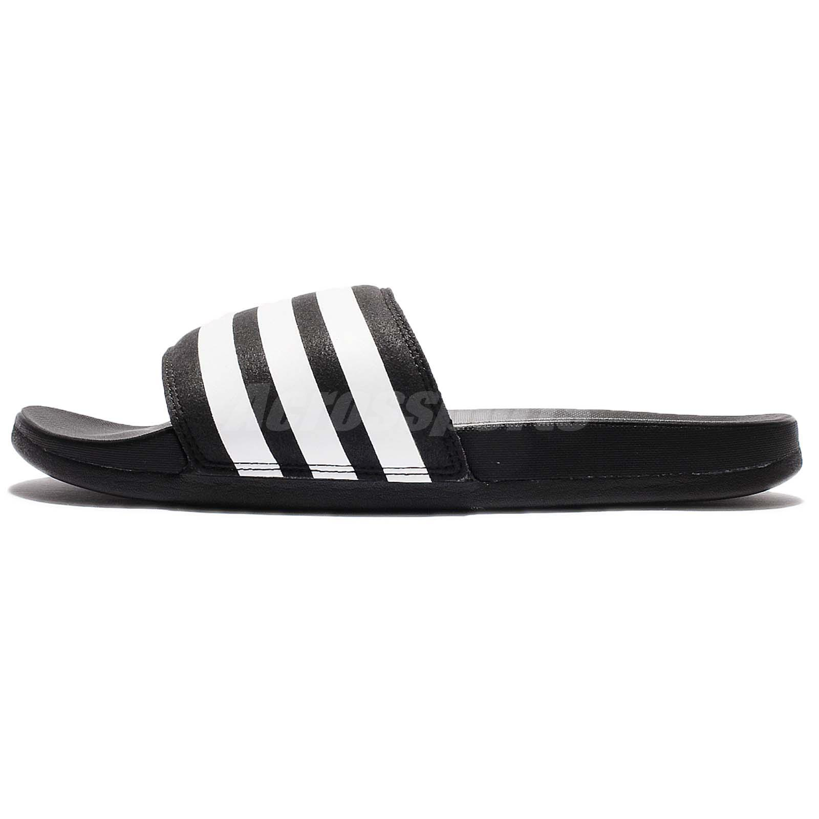 40d801c2ca09 adidas Adilette CF Cloudfoam Plus Black White Men Sandal Slide Slipper  AQ4935