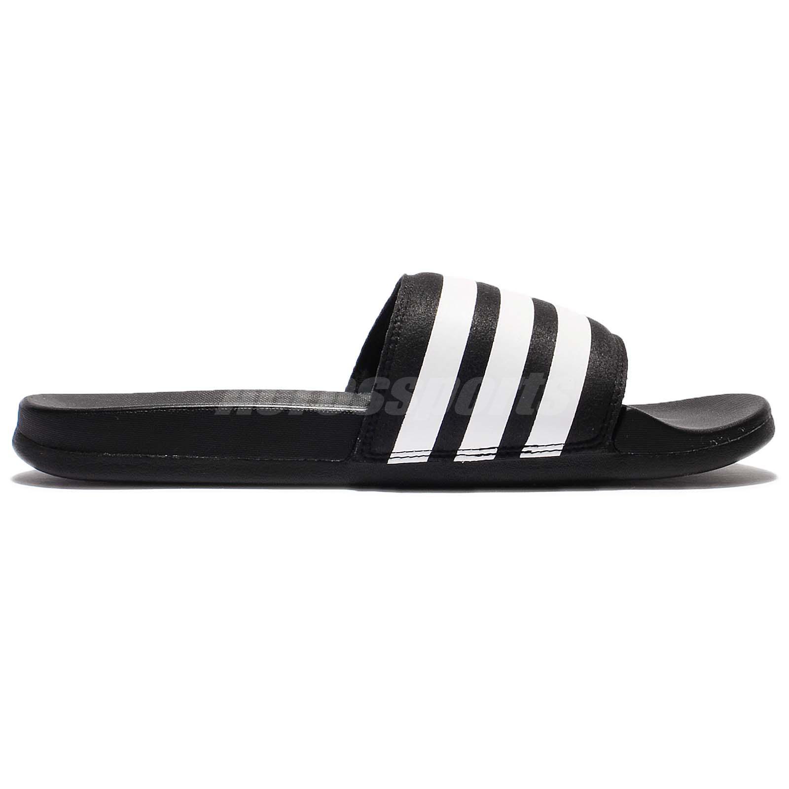 dfd64cf03632 adidas Adilette CF Cloudfoam Plus Black White Men Sandal Slide ...