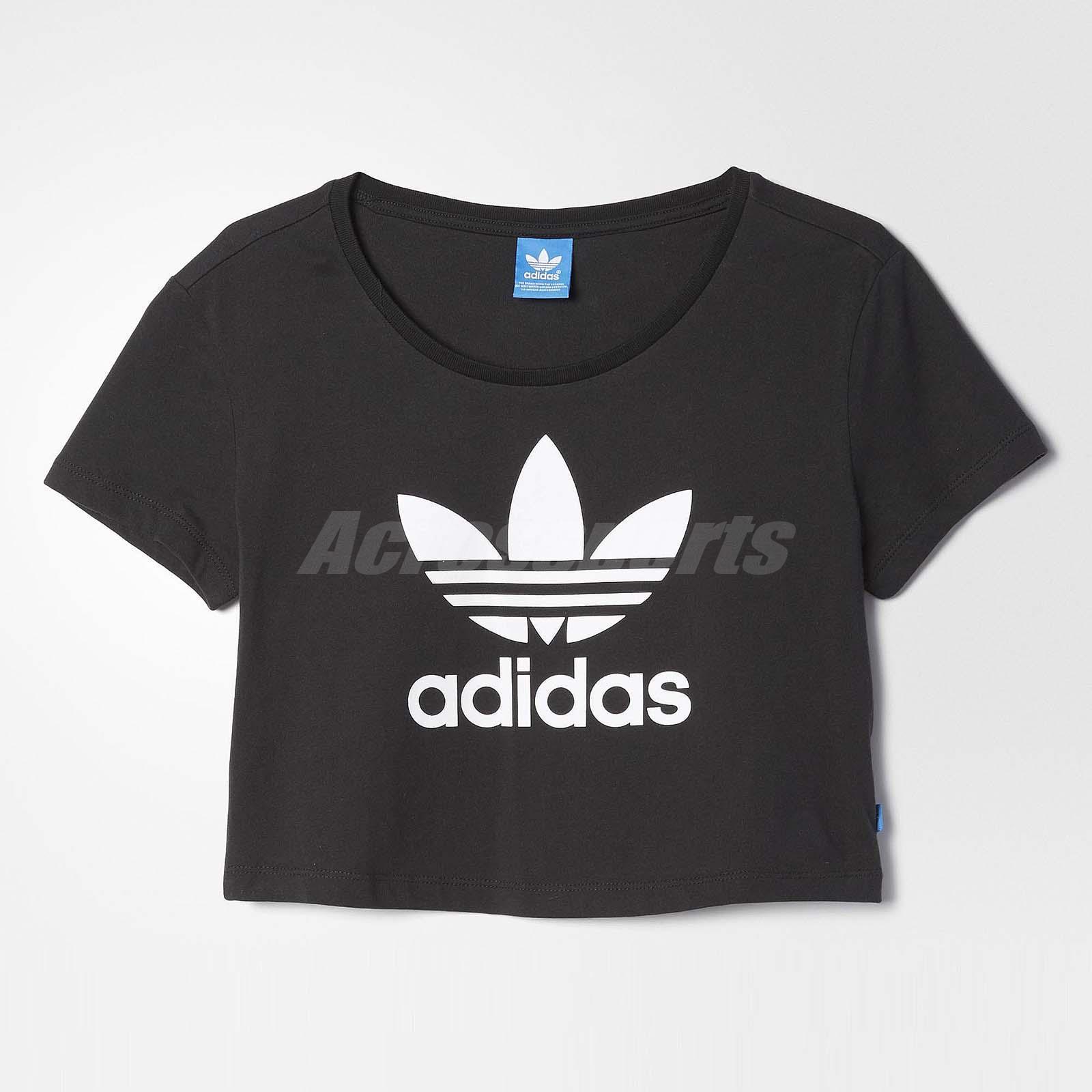 Adidas women originals slim crop tee trefoil t shirt for Adidas custom t shirts