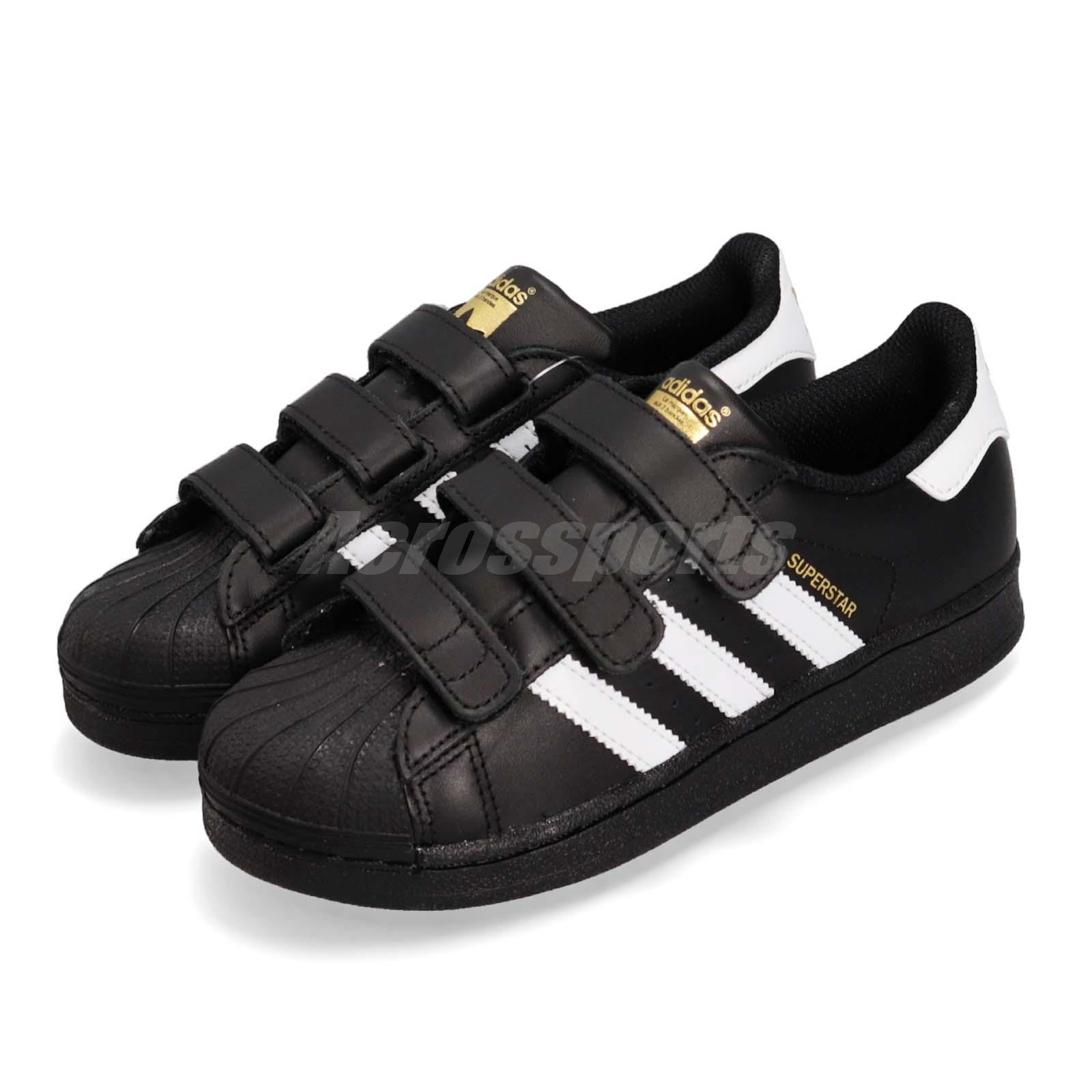 ADIDAS SuperStar Black White Gold Toddlers 4 To 10 New N Box 100/% Original