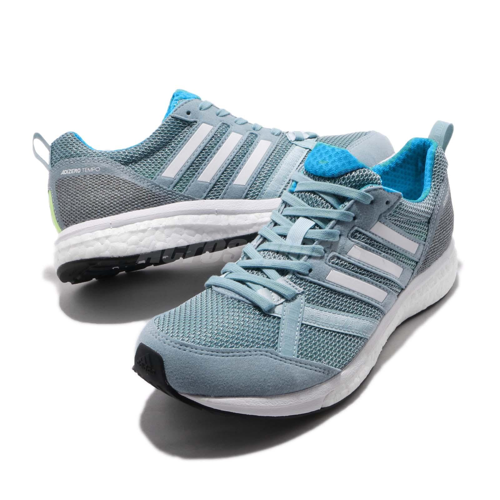 deb19187985 adidas Adizero Tempo 9 Boost Grey White Shock Cyan Women Running ...