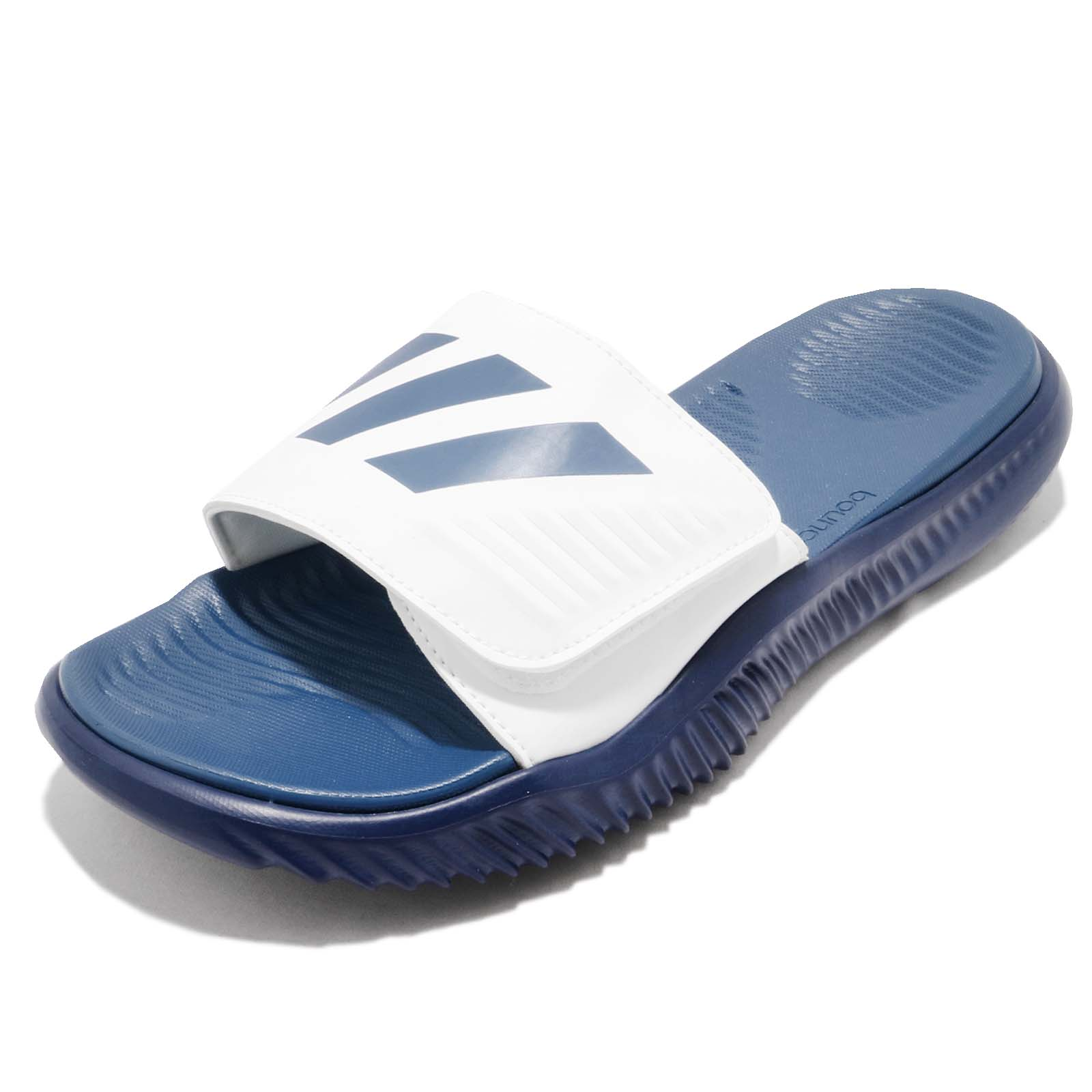 d7e1a0e7af58 adidas Alphabounce Slide 3 Stripes Blue White Men Sandal Slipper BA8777