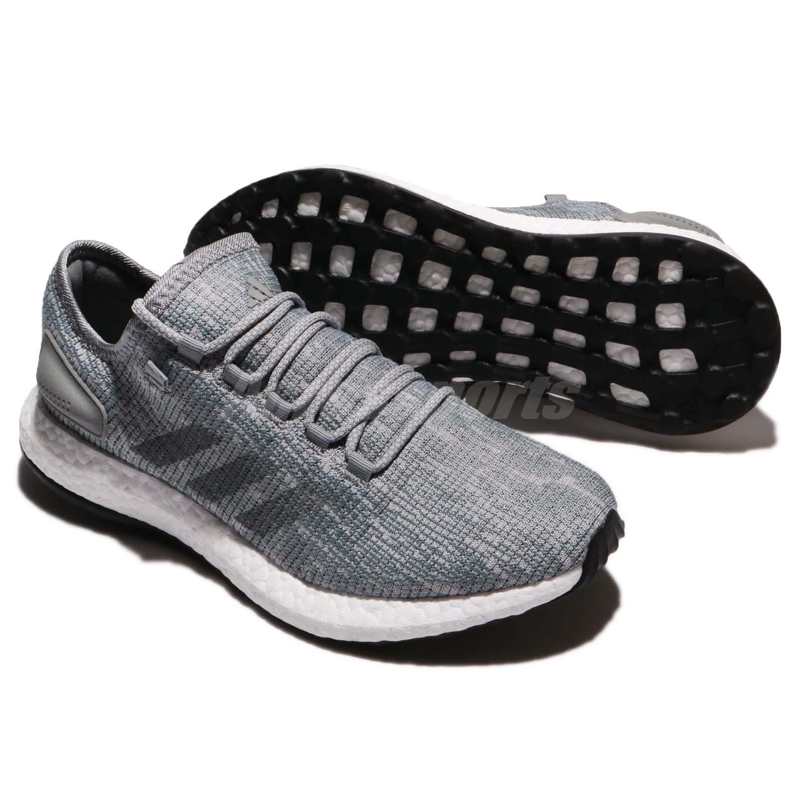 968f9ee0c4aa2 adidas PureBOOST Grey White Men Running Shoes Sneakers Trainers ...