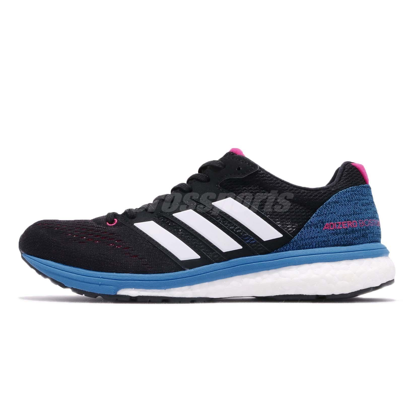3c8532a92714 Details about adidas Adizero Boston 7 W BOOST Black Blue White Womens  Running Shoes BB6501