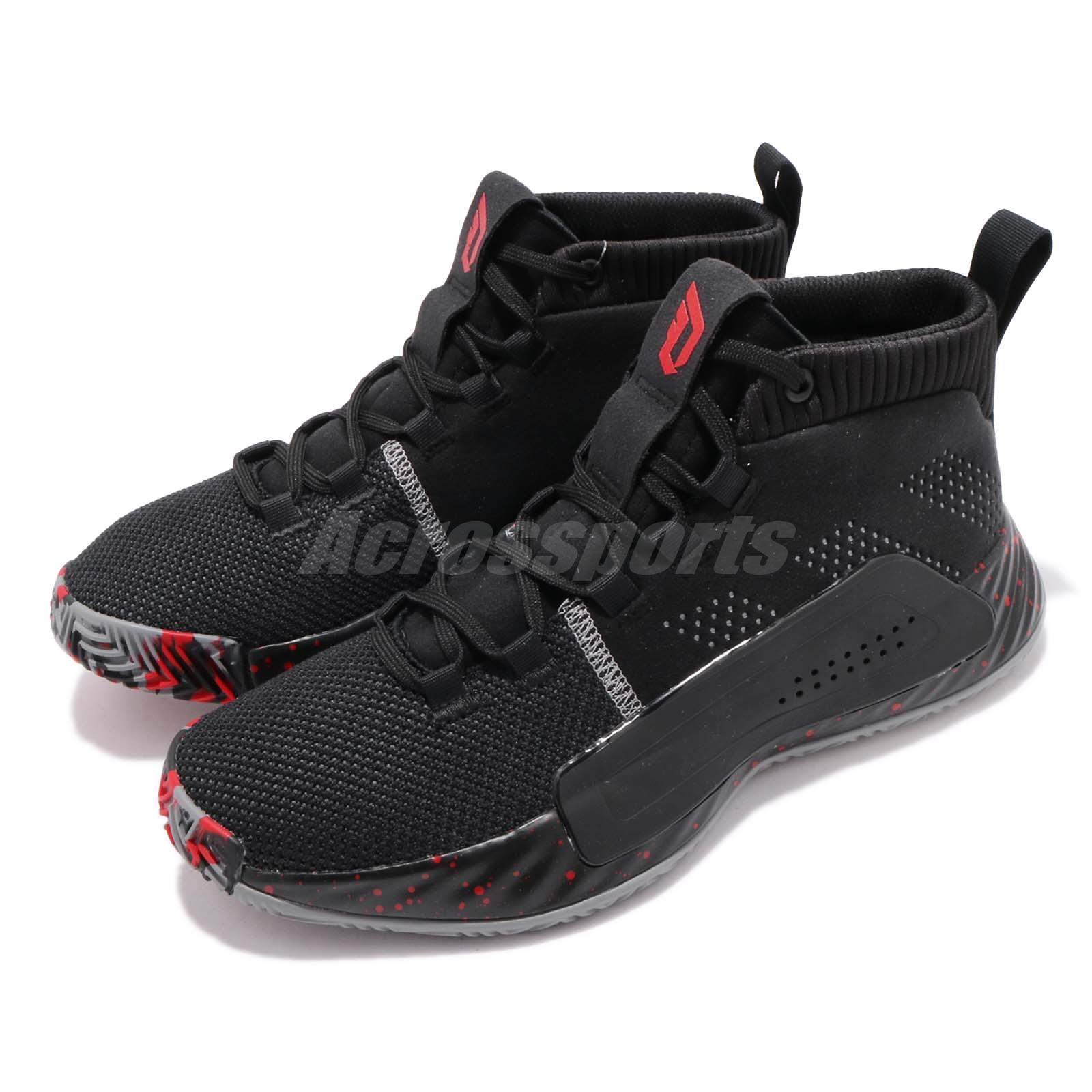 the latest 9f3fd e1c6c Details about adidas Dame 5 J V Damian Lillard Black Grey Red Kid Women  Basketball Shoe BB8062