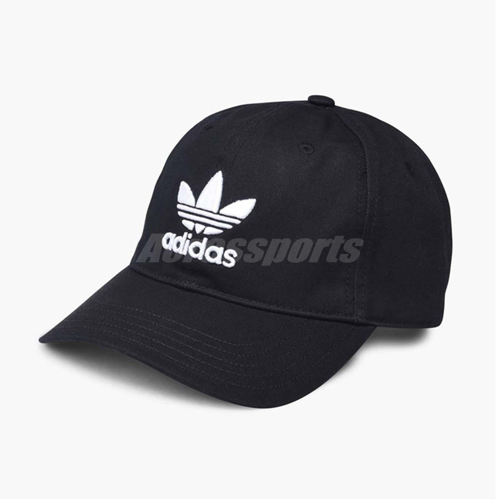 483f6c5a32072 adidas Originals Trefoil Classic Cap Black White Adjustable Strap Hat BK7277