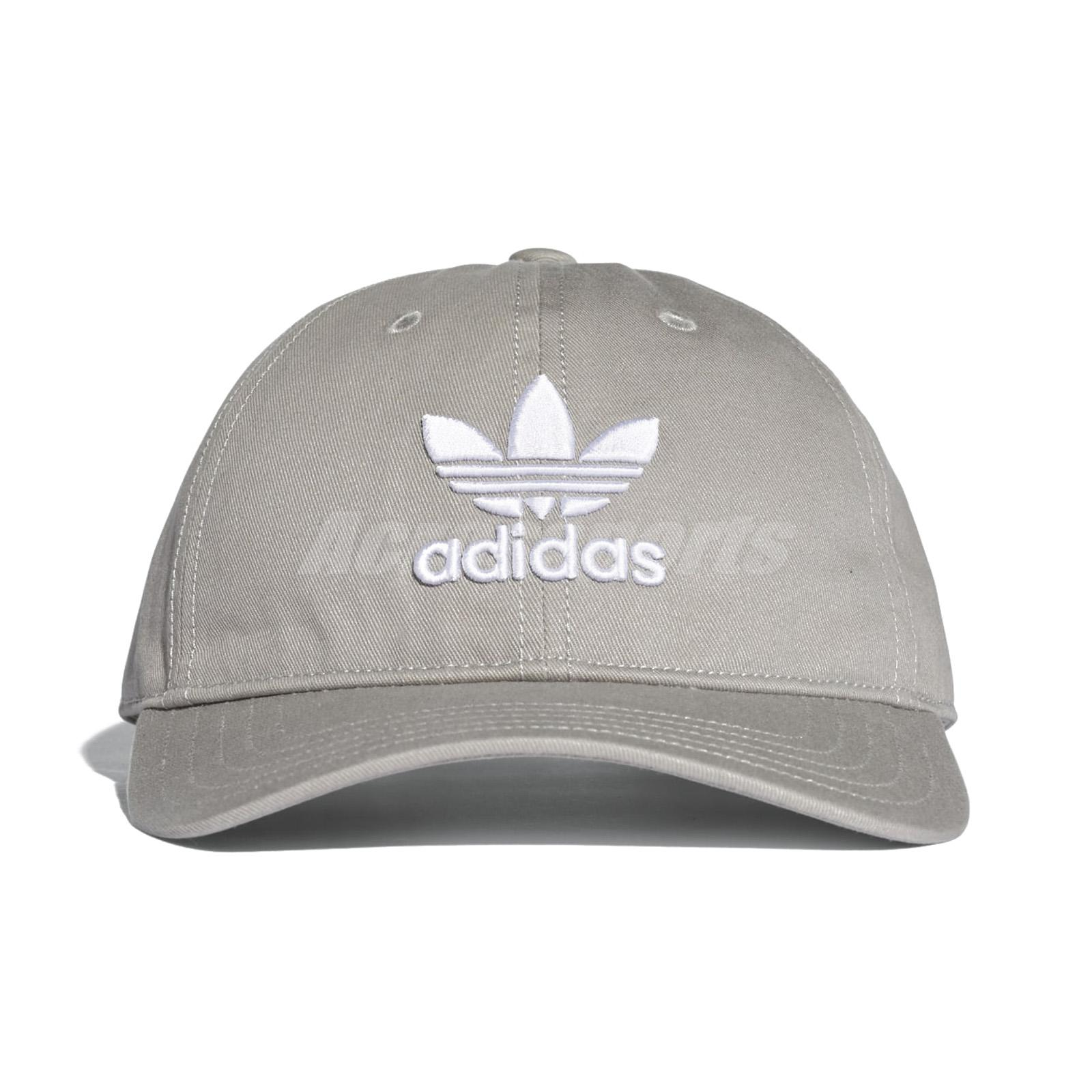 2f677c8c3ae75 adidas Originals Trefoil Classic Grey White Cap Adjustable Strap Hat BK7282
