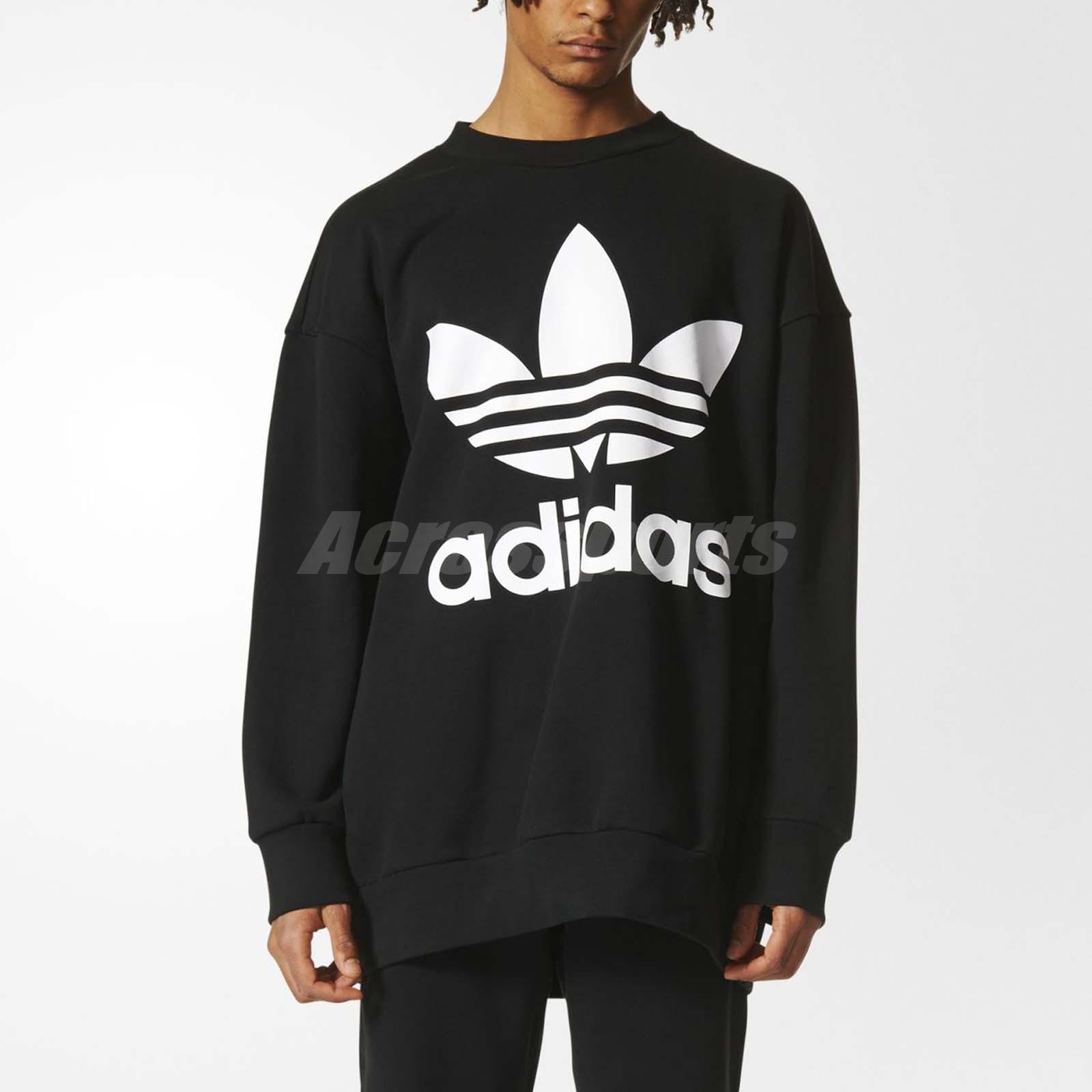 Details about adidas Men Originals Crewneck Sweatshirt Oversize Pullover Black White BQ1814