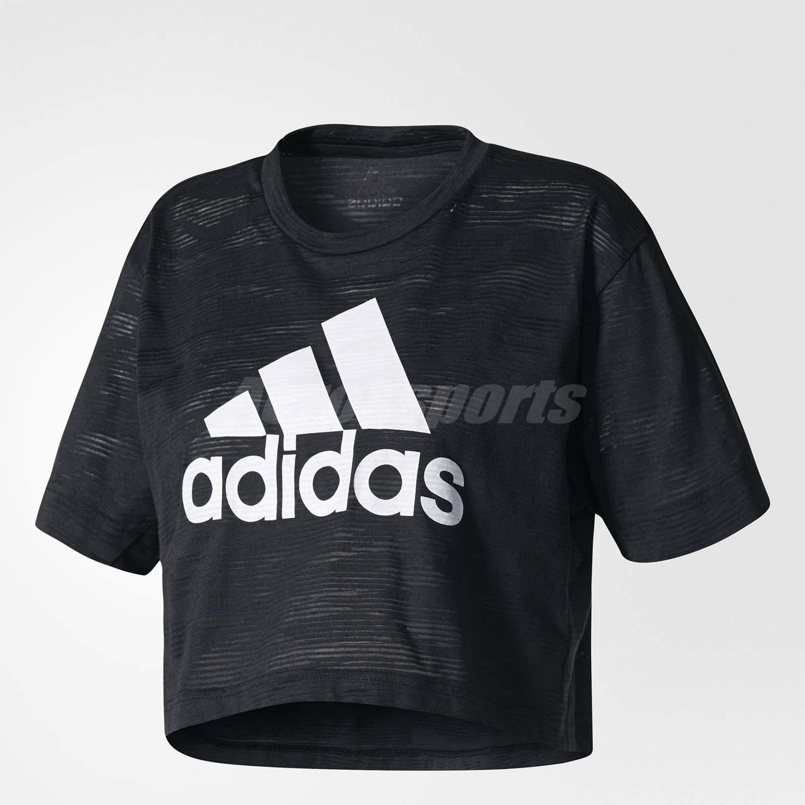 adidas women aeroknit crop top sports running training tee t shirt black bq5791 ebay. Black Bedroom Furniture Sets. Home Design Ideas