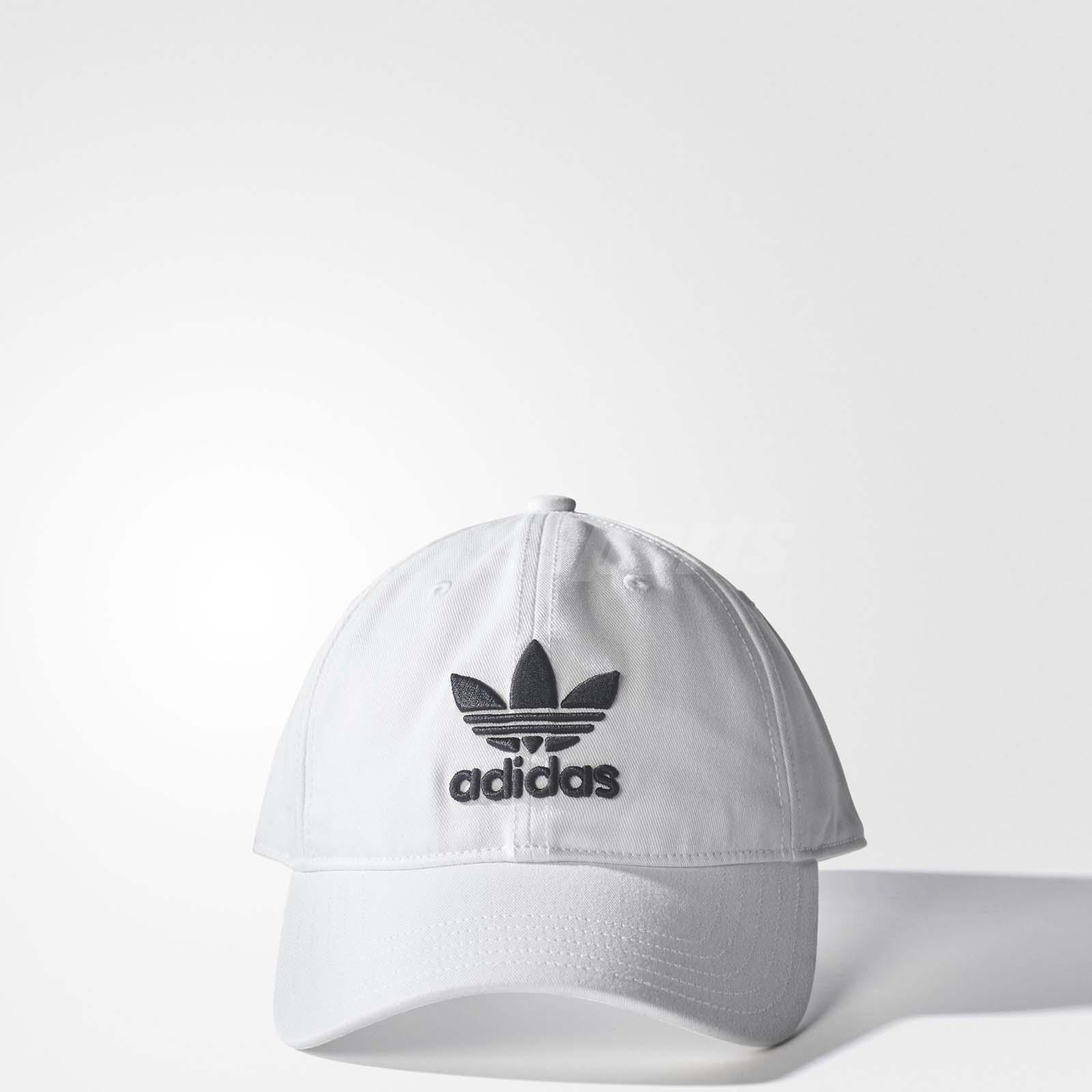 d90d89b2f61 adidas Originals Trefoil Classic White Black Cap Adjustable Strap Hat BR9720