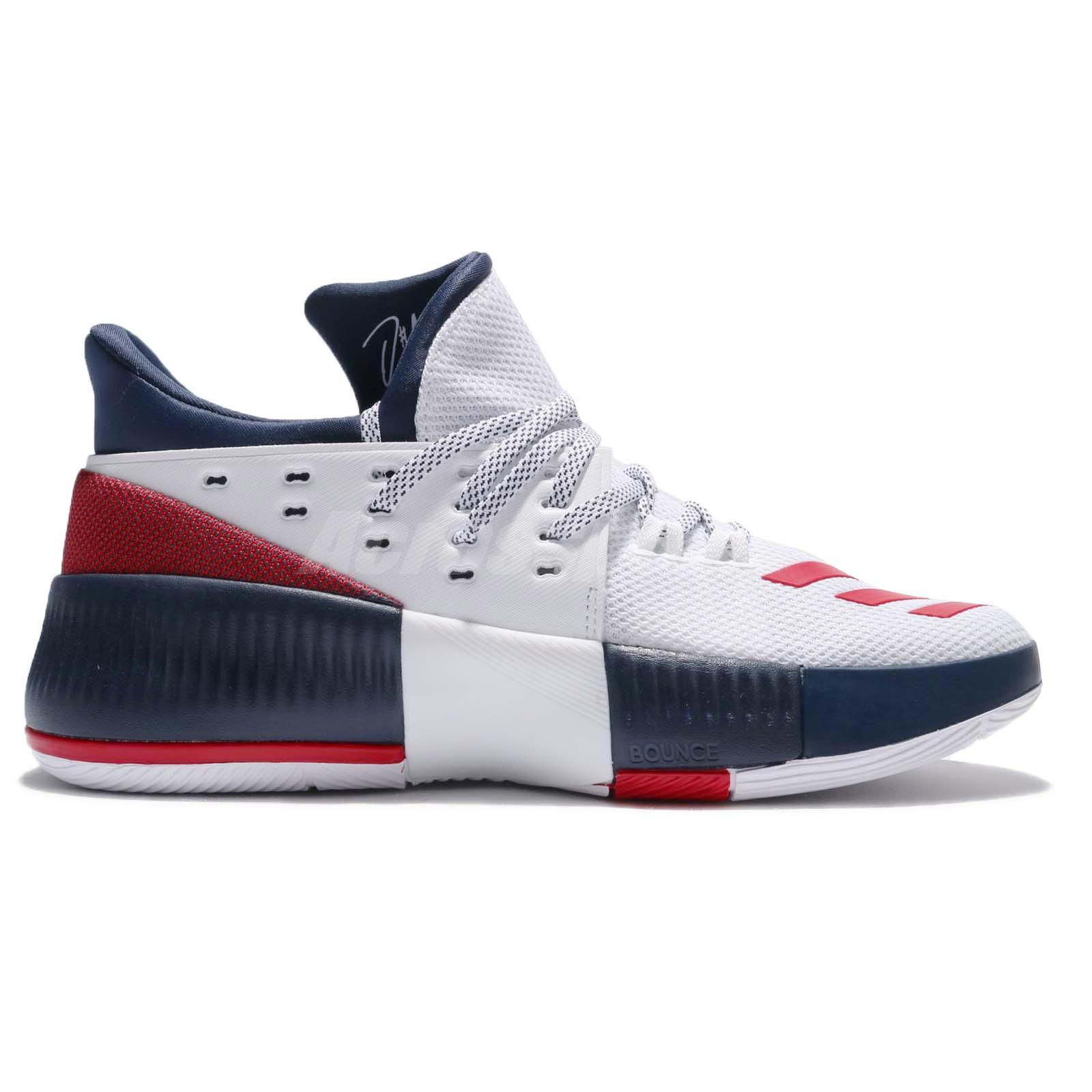 0245319839ba adidas Dame 3 J Damian Lillard Navy Red White Kids Basketball Shoes ...