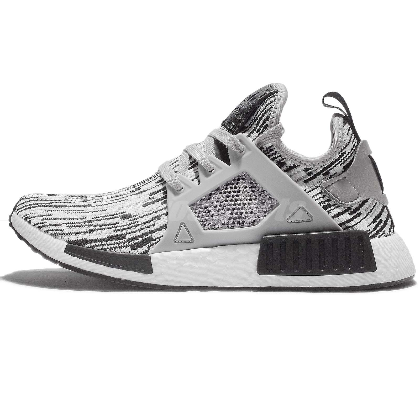 adidas NMD Xr1 Primeknit Mens By1910 Grey Glitch Black Running