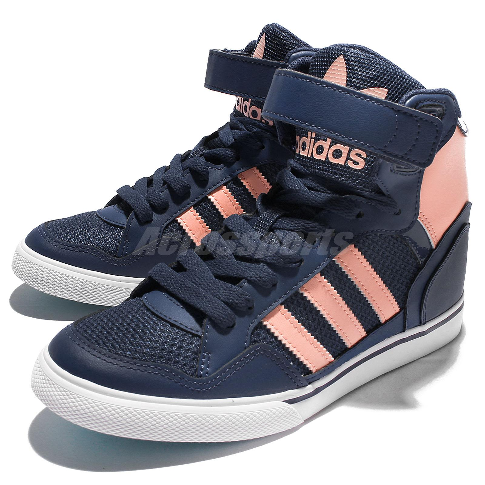 the latest 75728 3d1d4 Details about adidas Originals Extaball Up W Navy Pink Women Wedge Casual  Shoes Sneaker BY2330