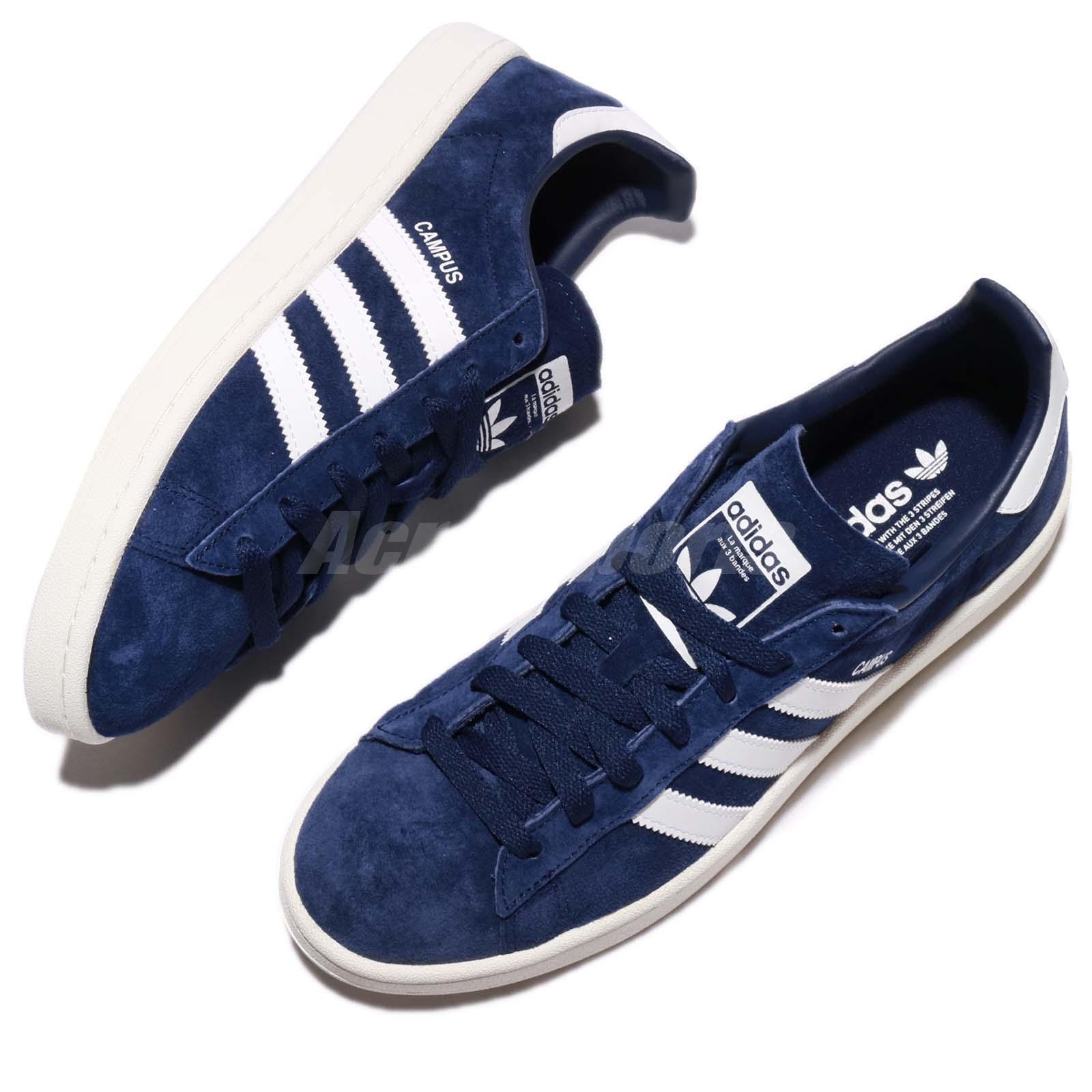 brand new 4d9c0 70262 adidas Originals Campus Suede Dark Blue White Navy Men Classic Shoes ...