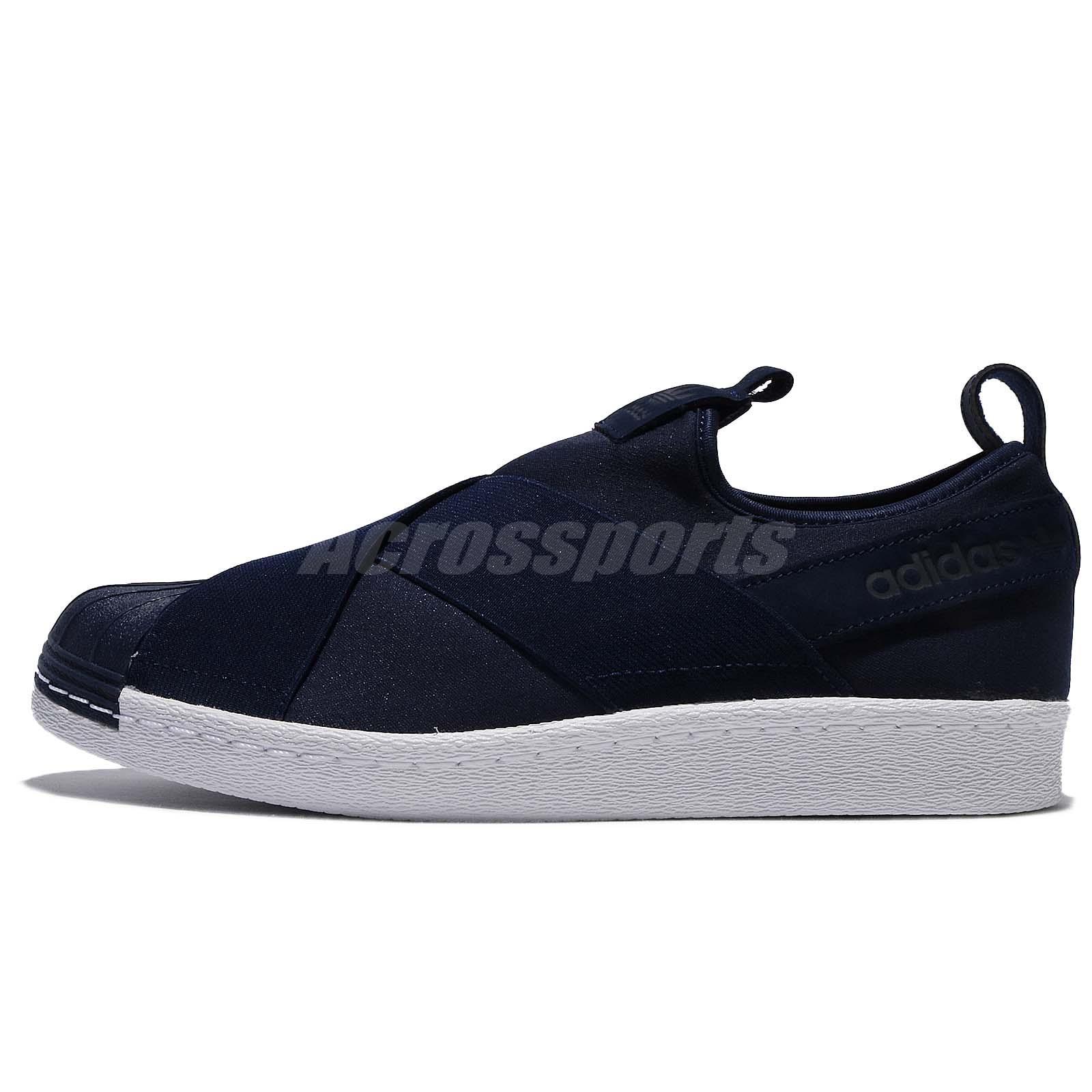 Adidas Superstar Slipon Bianco Blu Marina Originali Uomini Scarpe Da Ginnastica