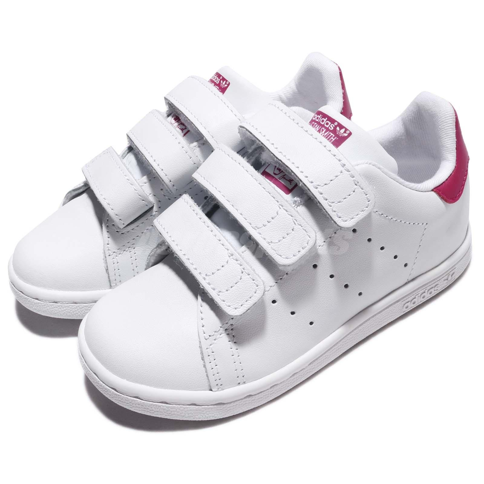 new style e8c05 d7ac1 Details about adidas Stan Smith CF I White Pink Leather Infant Toddler Baby  Shoes BZ0523