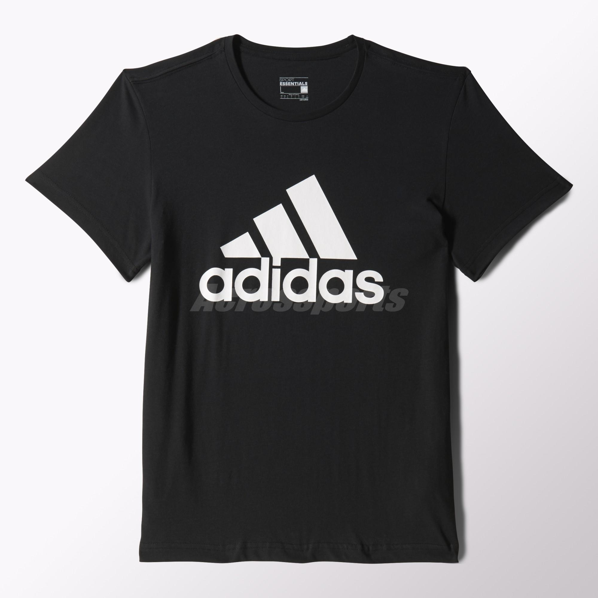 Details about adidas Men Essentials Tee Climalite T Shirt Sports Training Black White CD4864