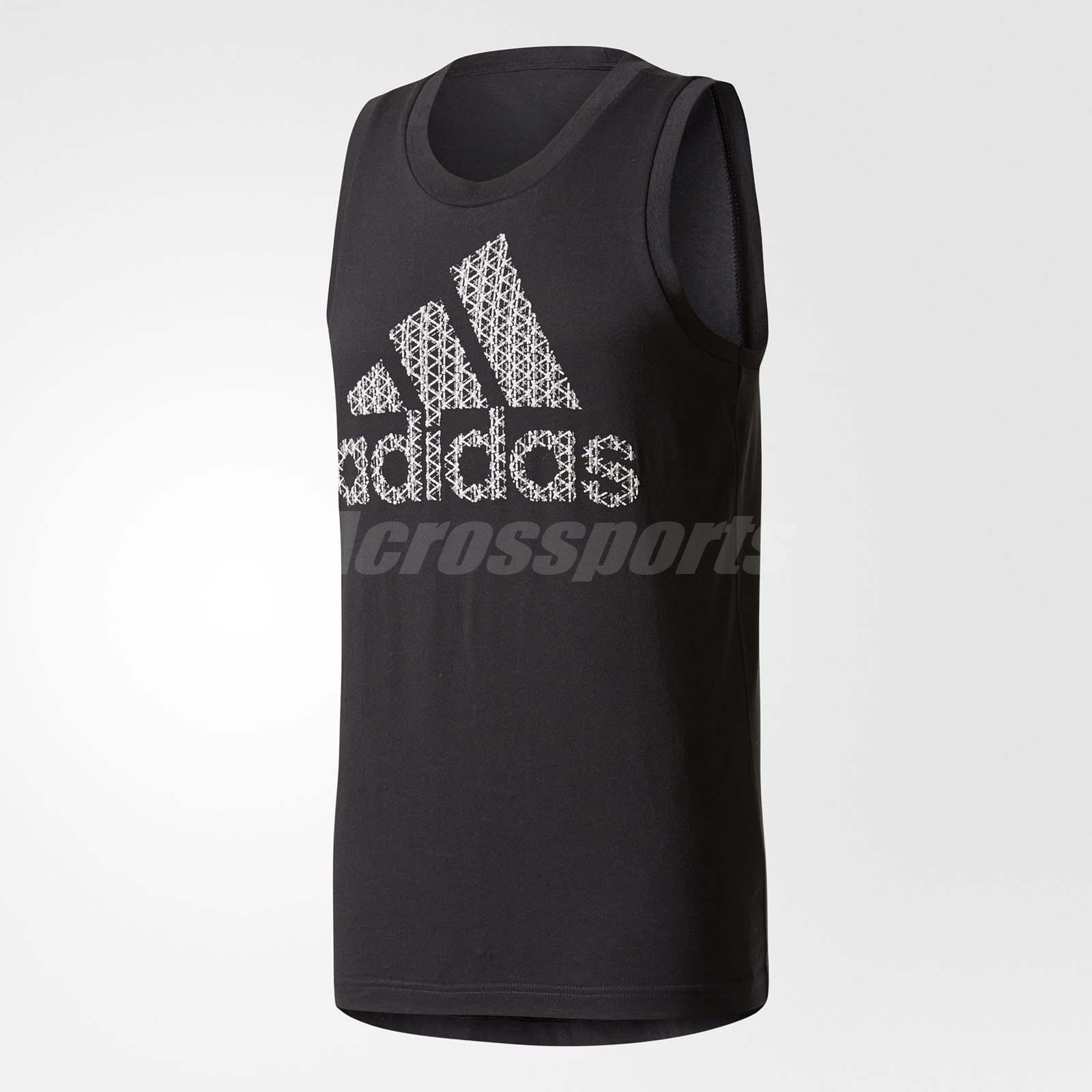 84d8aab88d650 adidas Men Bos Tank Sleeveless Tops Sports Training Running Workout Black  CD9098