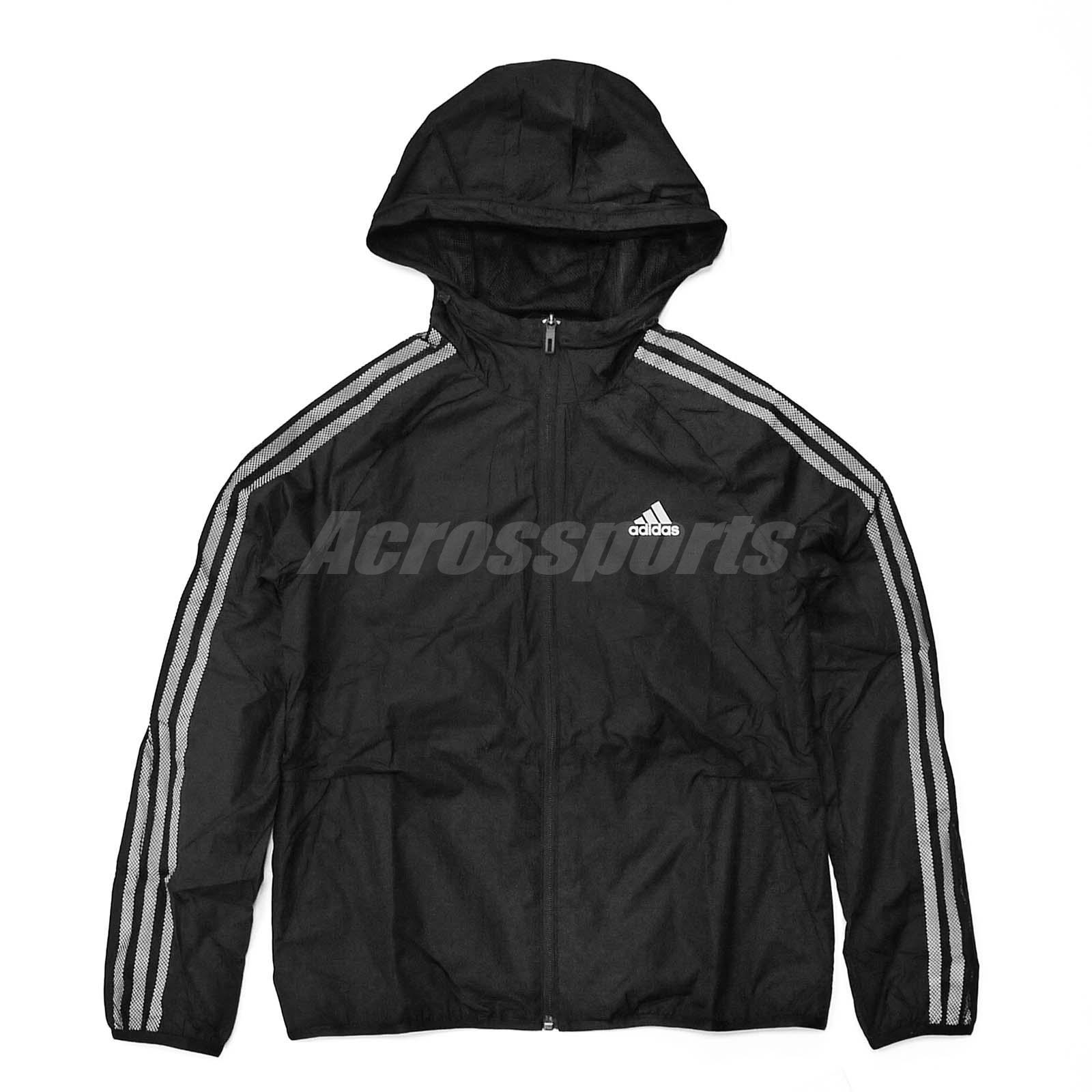 adidas Women Windbreaker Reflective 3-Stripes Jacket Running Black ...