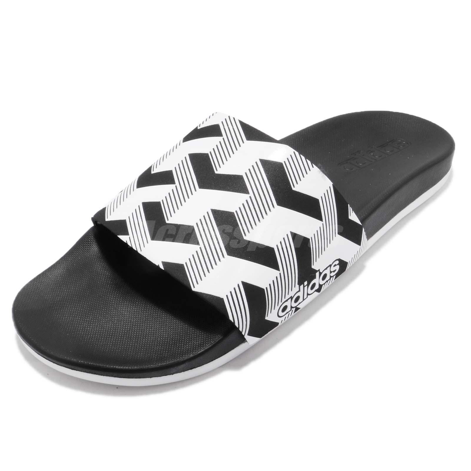 cheap for discount 1a74b 1c0ae adidas Adilette CF Link GR Cloud Foam Black White Men Slides Sandal CG2800
