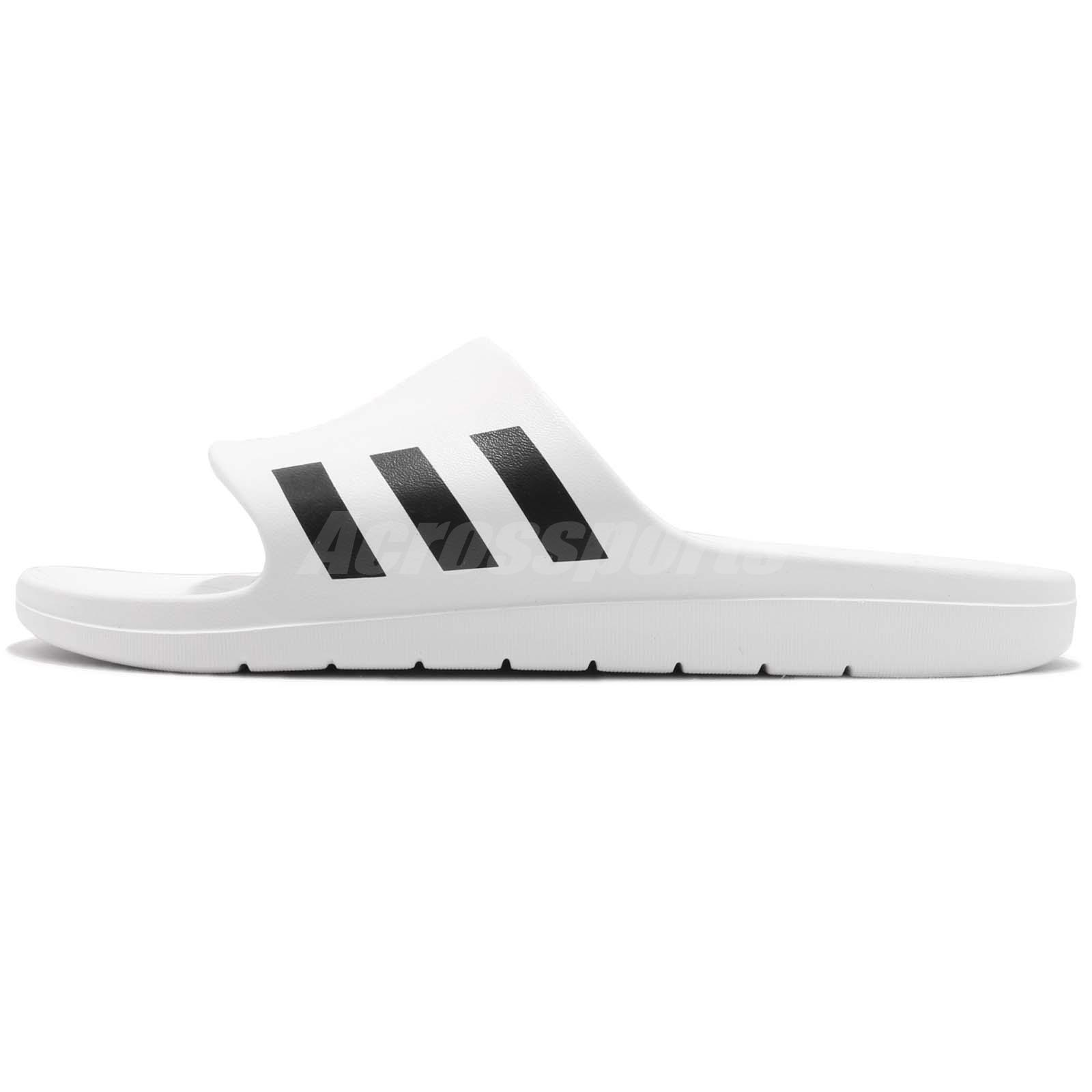 9b06f8d0941 adidas Aqualette White Black Men Sports Sandals Slides Slippers ...