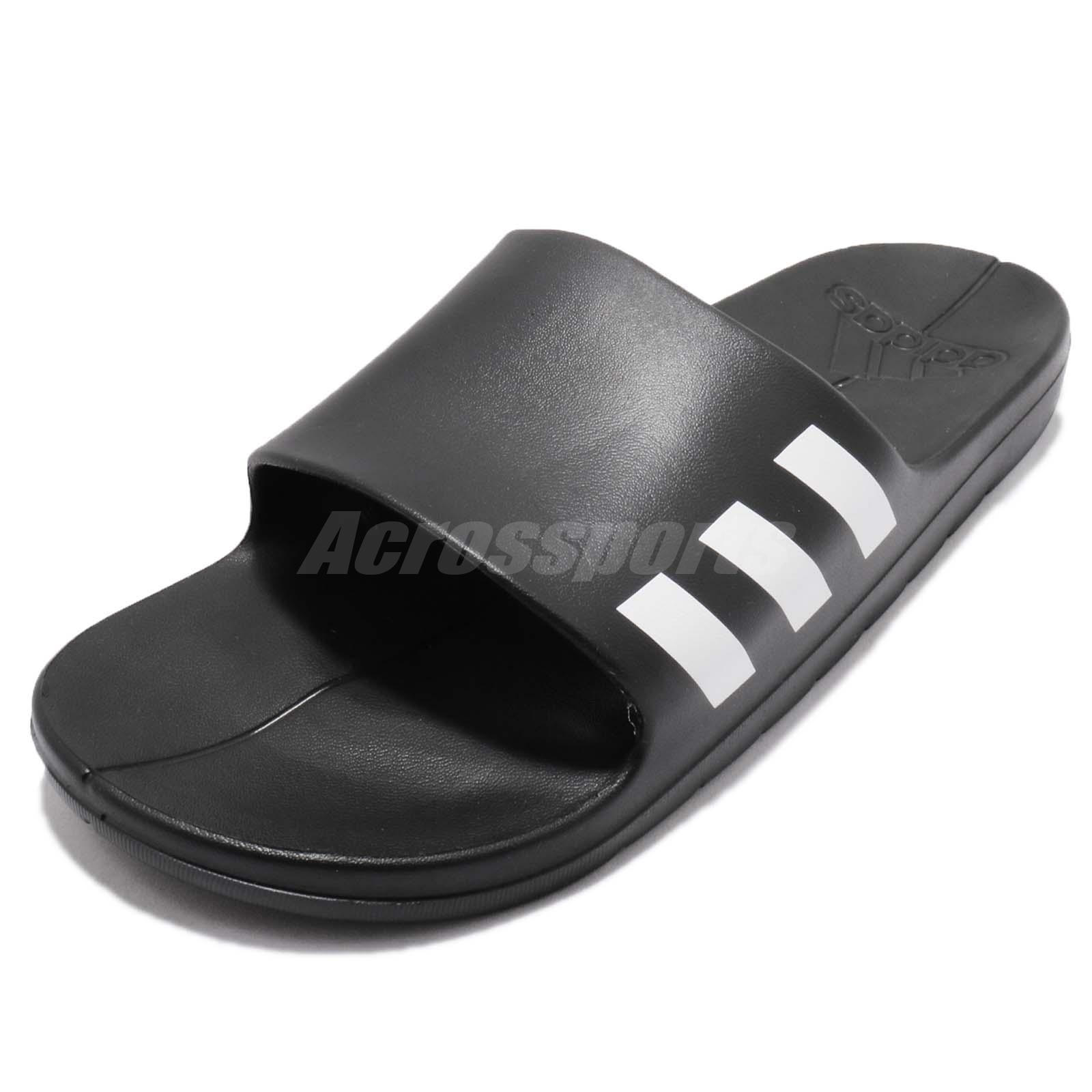 e7783b2c105e8f adidas Aqualette Core Black White Men Women Sandal Slippers Slides CG3540