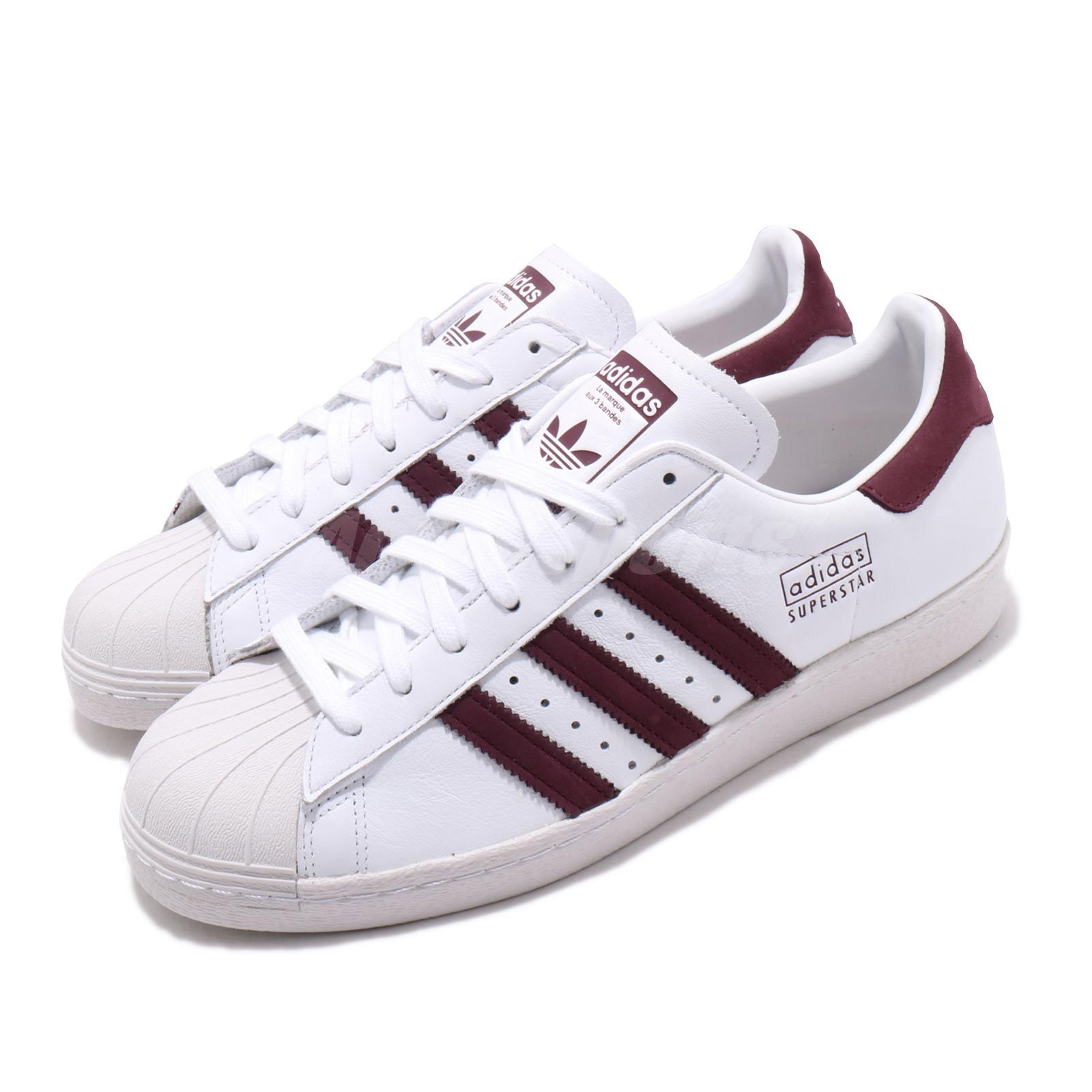 Details about adidas Originals Superstar 80s White Maroon Red Men Classic Casual Shoes CM8439