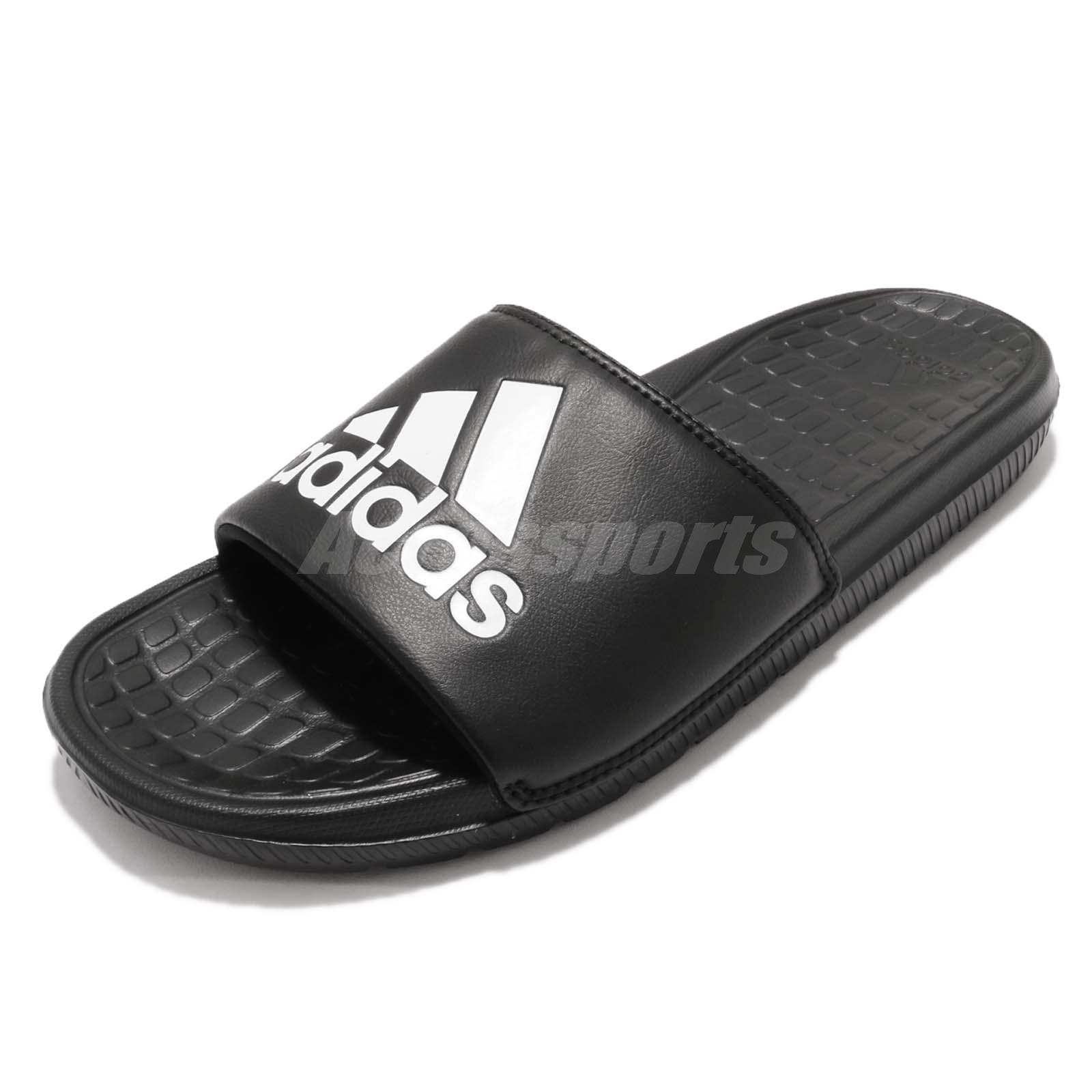 brand new 2a8f9 62660 adidas Voloomix Logo Black White Men Sports Sandal Slides Slippers CP9446