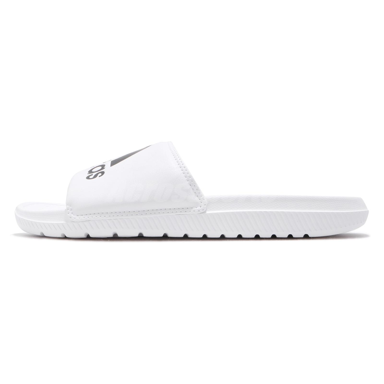 d8c890872458 adidas Voloomix Slides Logo White Black Men Sports Sandals Slippers ...