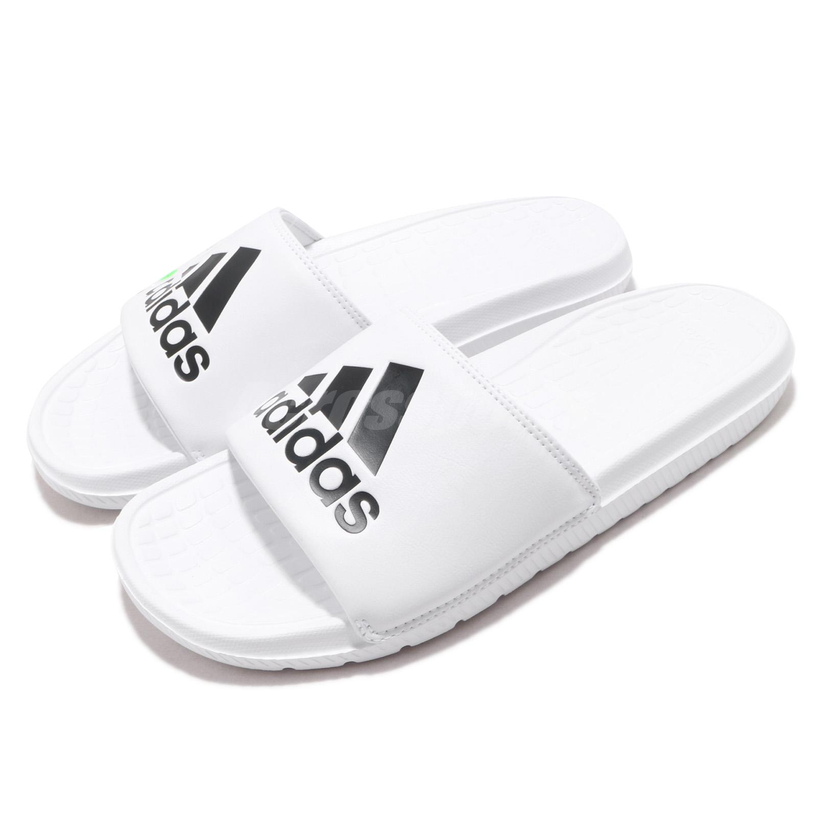 wholesale dealer 3a79b cf555 Details about adidas Voloomix Slides Logo White Black Men Sports Sandals  Slippers CP9447
