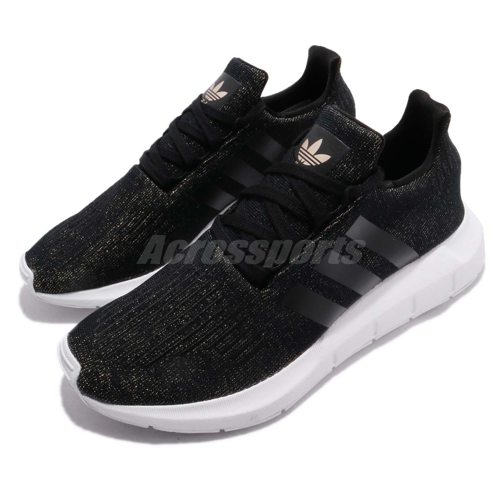 58a3012285ce Details about adidas Swift Run W Core Black White Gold Women Running Shoes  Sneakers CQ2018