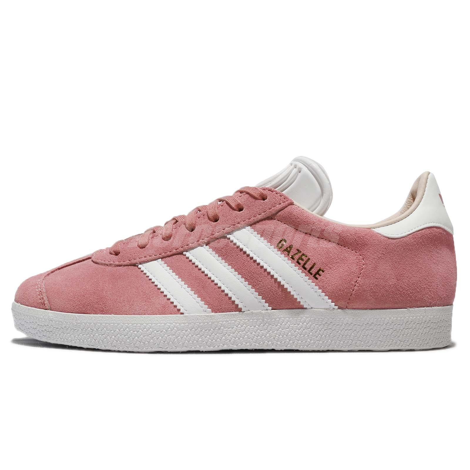 4f84578ffd2 adidas Originals Gazelle W Suede Pink Ash Pearl White Linen Women Shoes  CQ2186