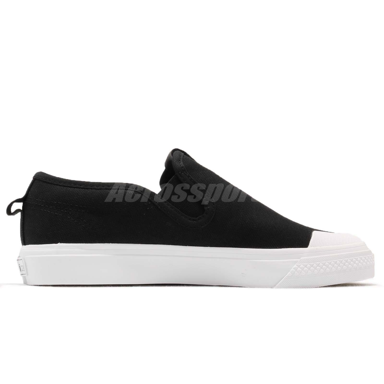 adidas Originals Nizza Slipon W Black White Women Slip On Casual ... 001af1f808d9b