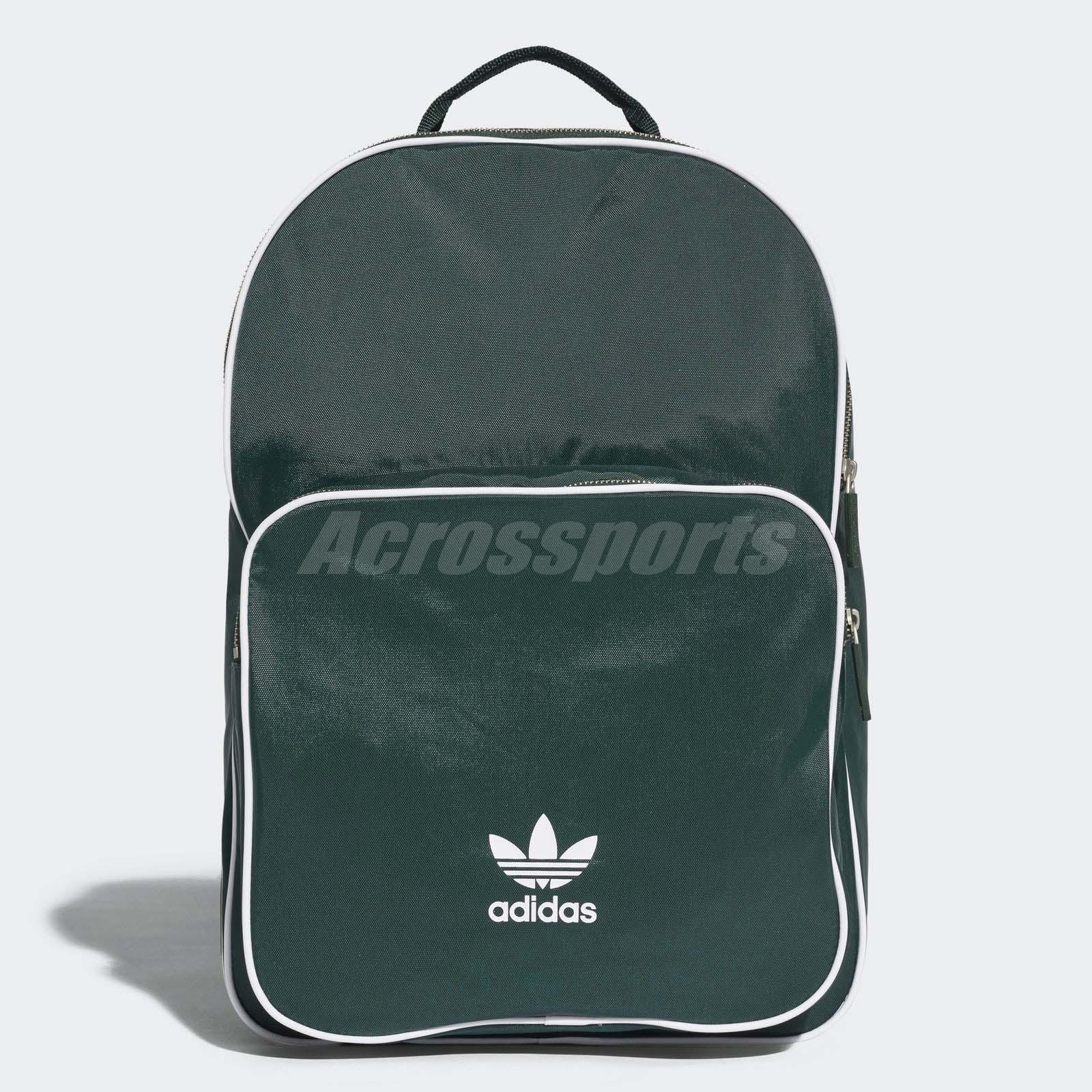 Details about adidas Originals Classic Backpack Green White Trefoil Sports  Bag CW0629 32d7b781f1aa