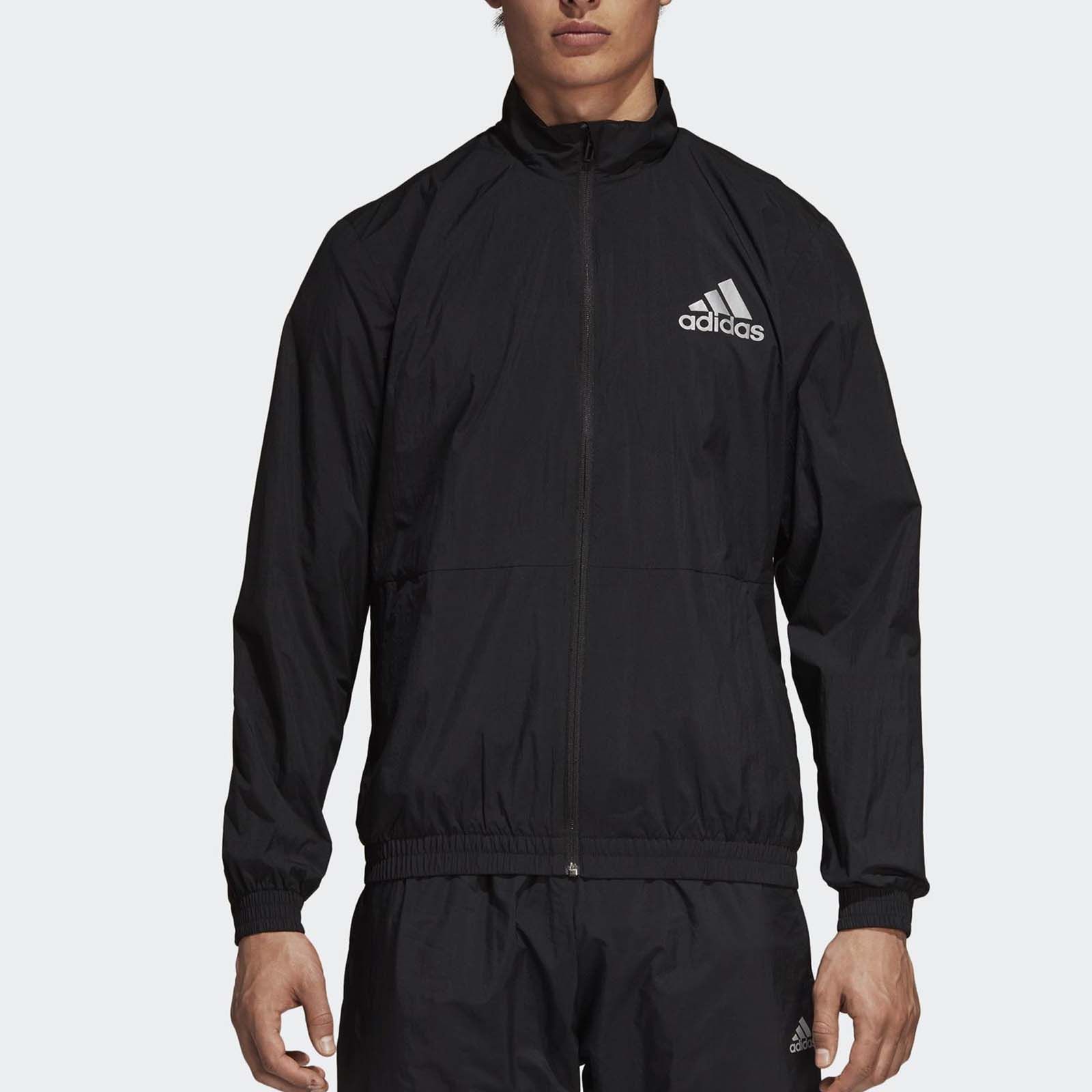 Details about adidas ID Wind Track Jacket Reflective Bomber Fleece Running Sports Black CY9880