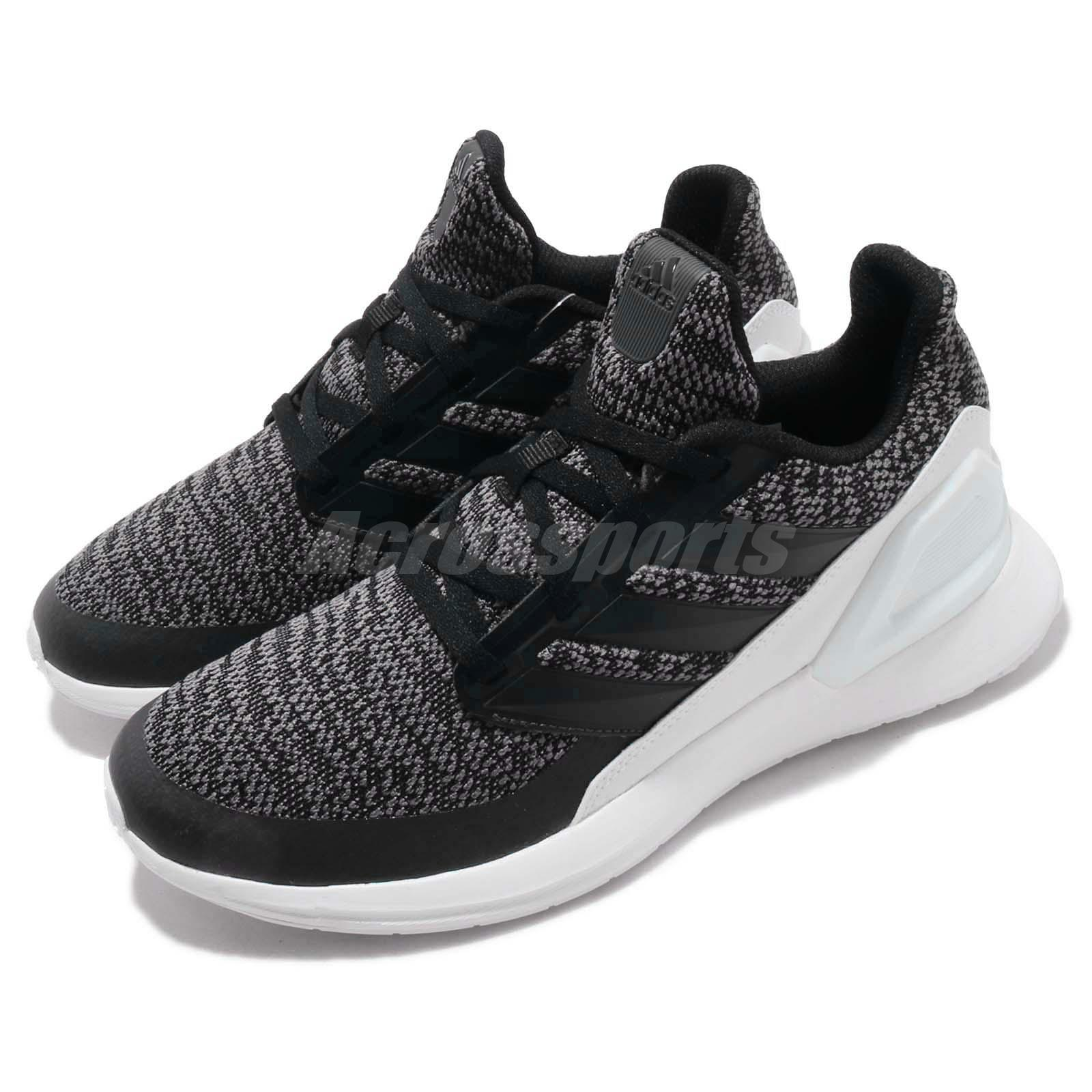 Adidas rapidarun Knit J Negro Gris Niño