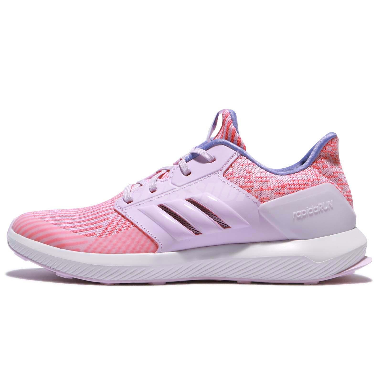 adidas RapidaRun Knit J Pink Blue Kids Running Shoes Sneakers DB0216