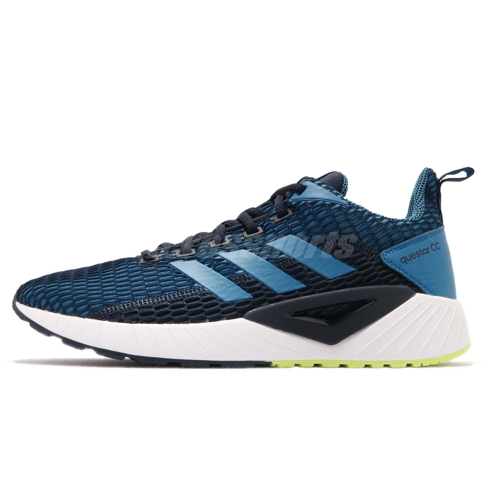 online store 99553 356de adidas Questar CC Navy Blue White Yellow Men Running Shoes Sneakers DB1155