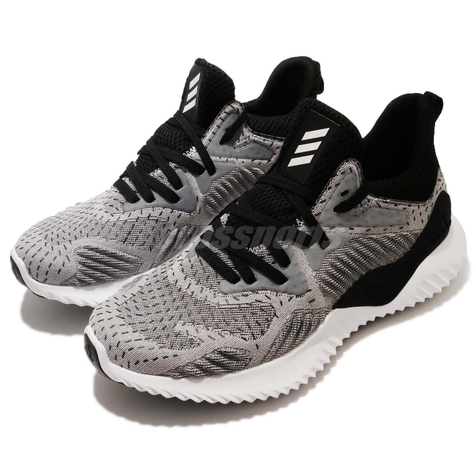 ec1e12fcc2ba9 Details about adidas AlphaBOUNCE Beyond J Grey White Black Junior Youth Running  Shoes DB1417